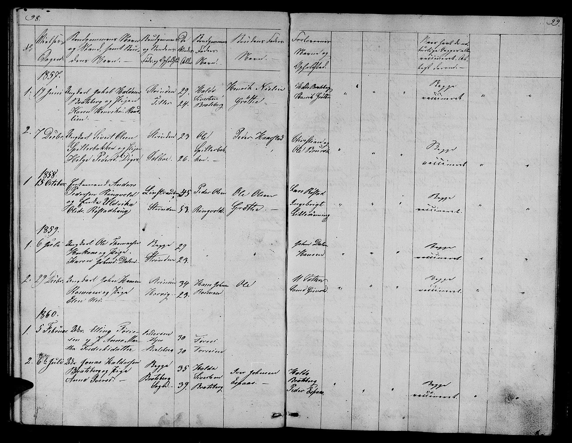 SAT, Ministerialprotokoller, klokkerbøker og fødselsregistre - Sør-Trøndelag, 608/L0339: Klokkerbok nr. 608C05, 1844-1863, s. 98-99