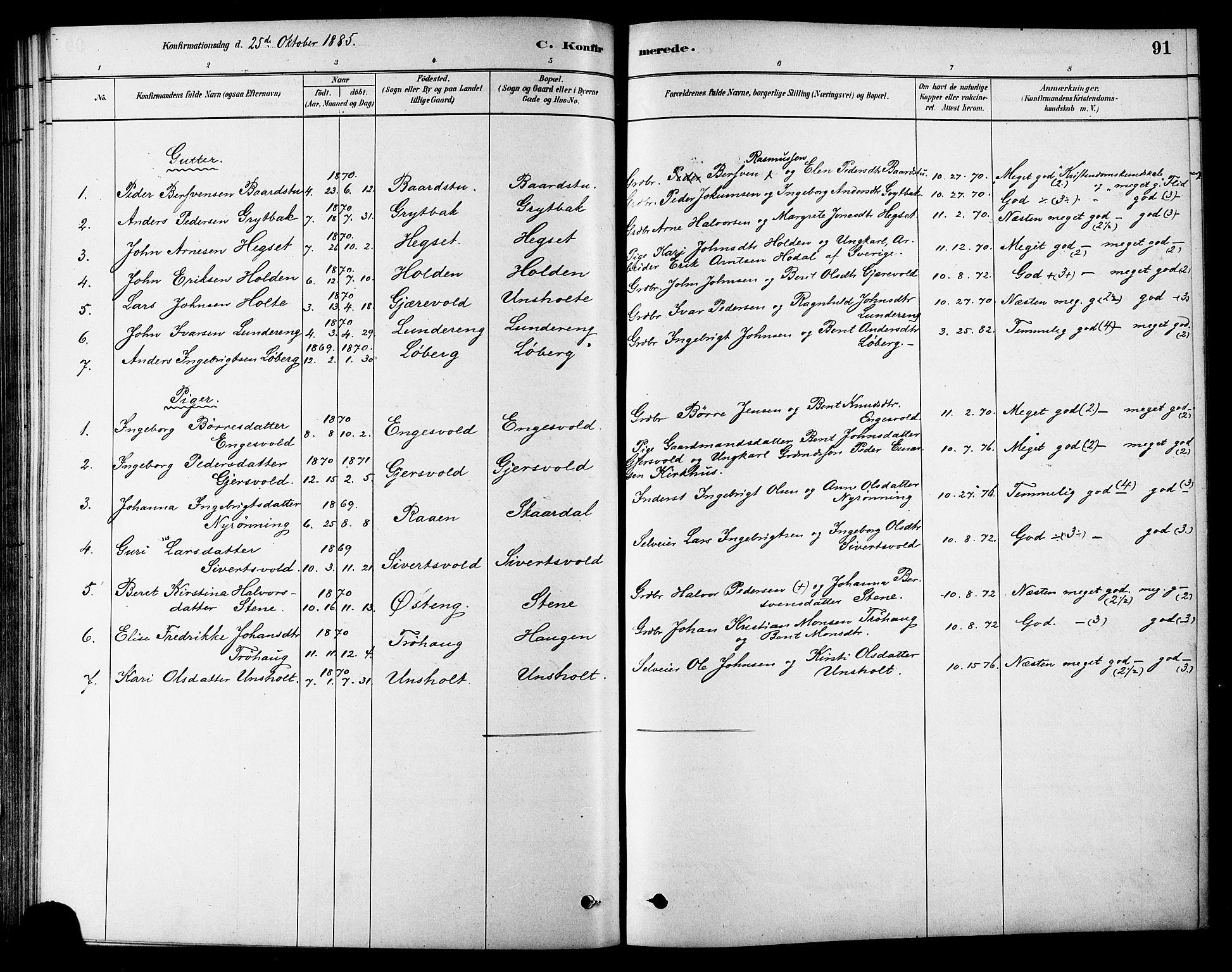SAT, Ministerialprotokoller, klokkerbøker og fødselsregistre - Sør-Trøndelag, 686/L0983: Ministerialbok nr. 686A01, 1879-1890, s. 91