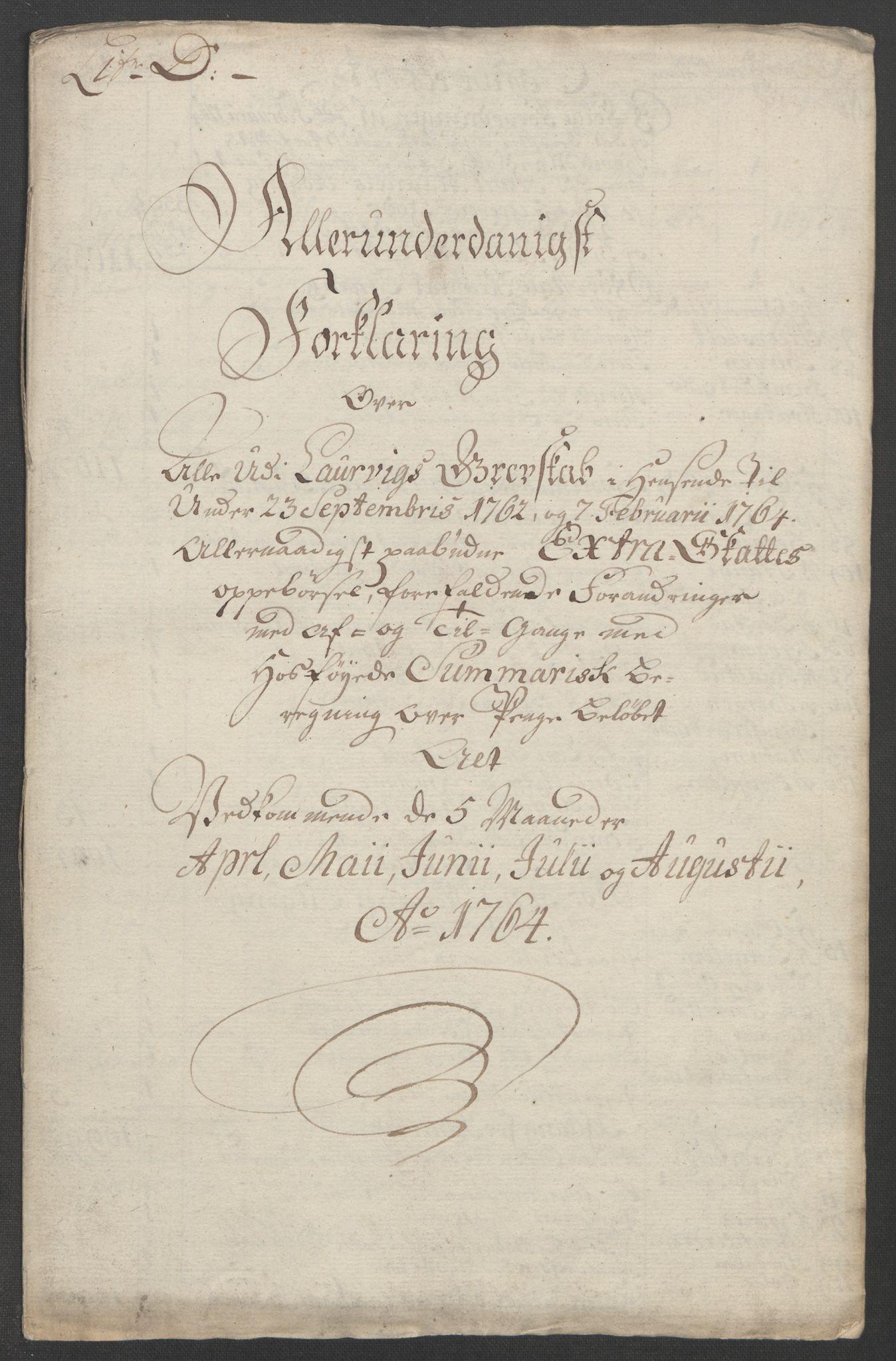 RA, Rentekammeret inntil 1814, Reviderte regnskaper, Fogderegnskap, R33/L2033: Ekstraskatten Larvik grevskap, 1762-1764, s. 541