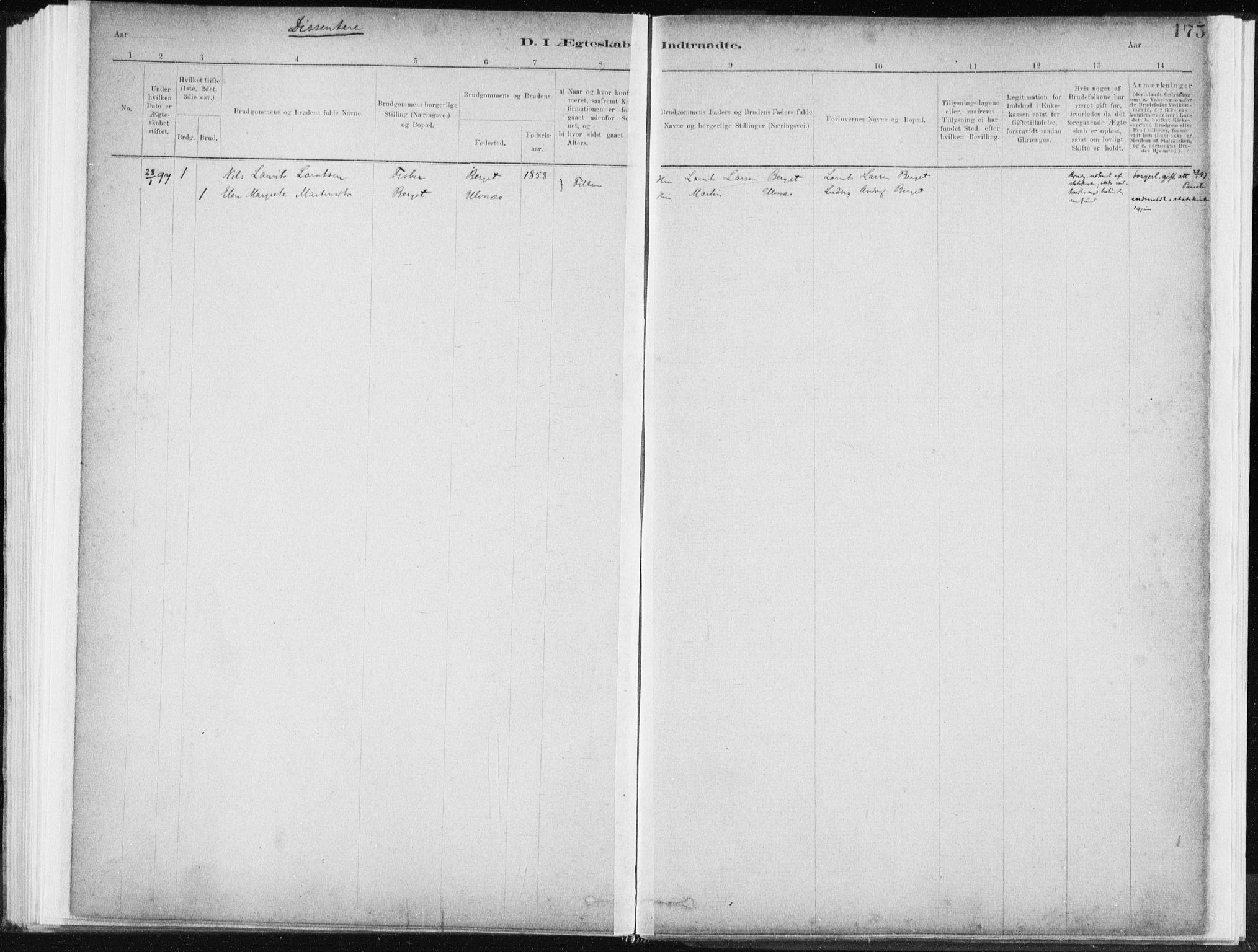 SAT, Ministerialprotokoller, klokkerbøker og fødselsregistre - Sør-Trøndelag, 637/L0558: Ministerialbok nr. 637A01, 1882-1899, s. 175