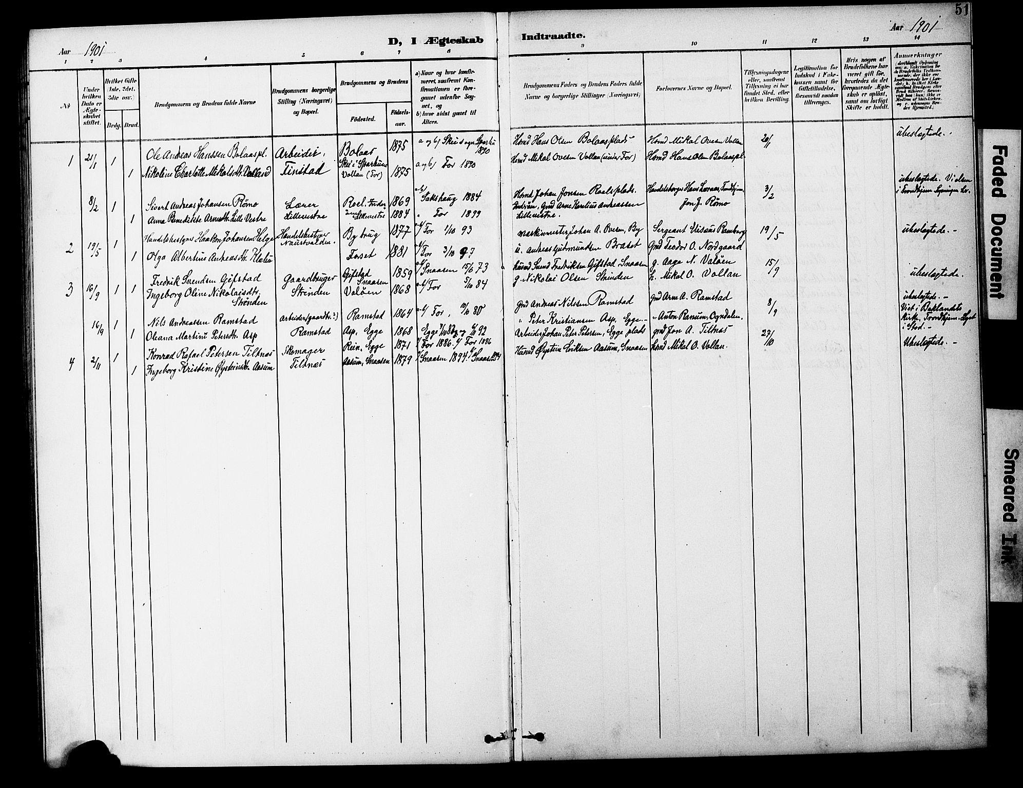 SAT, Ministerialprotokoller, klokkerbøker og fødselsregistre - Nord-Trøndelag, 746/L0452: Ministerialbok nr. 746A09, 1900-1908, s. 51