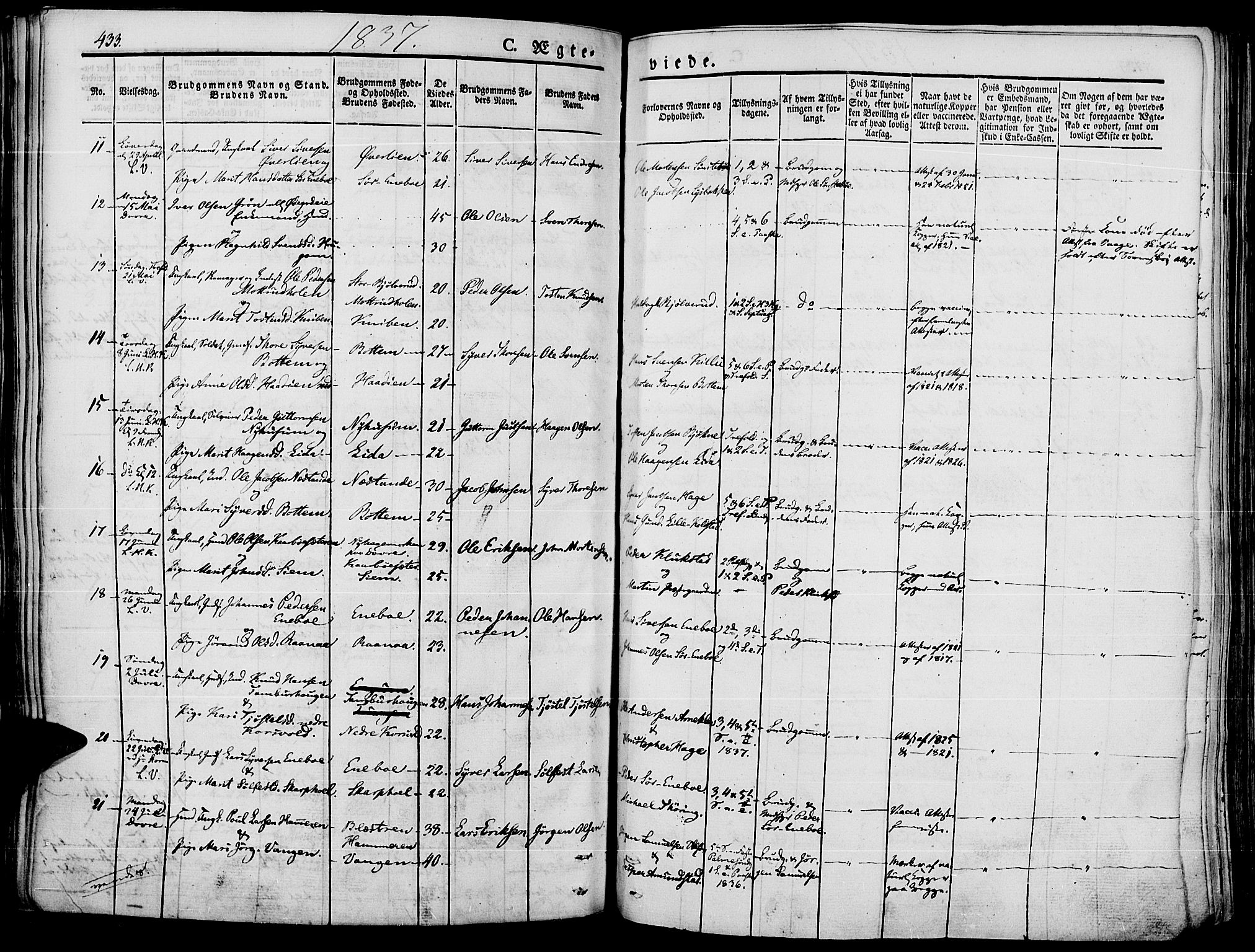 SAH, Lesja prestekontor, Ministerialbok nr. 5, 1830-1842, s. 433