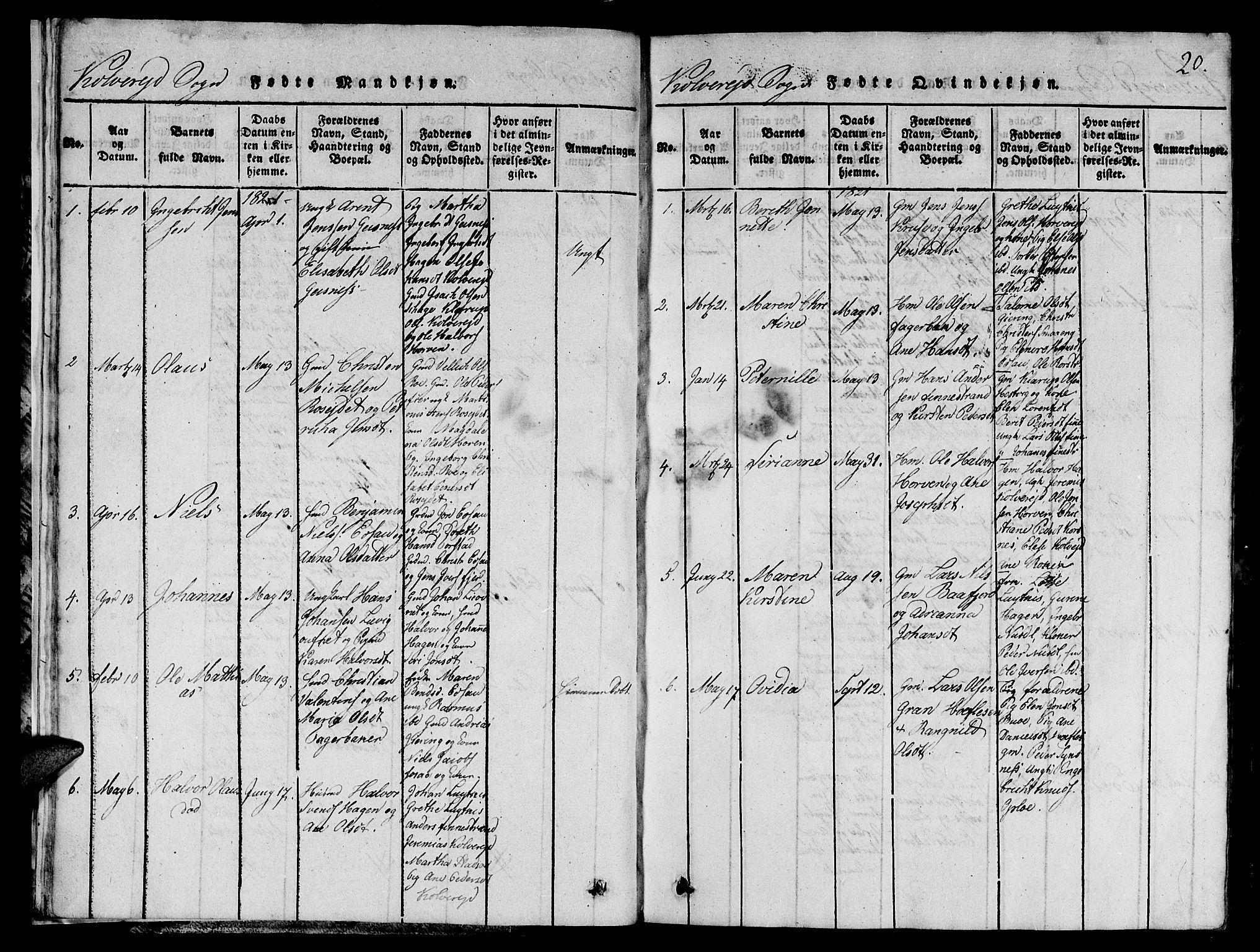 SAT, Ministerialprotokoller, klokkerbøker og fødselsregistre - Nord-Trøndelag, 780/L0648: Klokkerbok nr. 780C01 /1, 1815-1870, s. 20