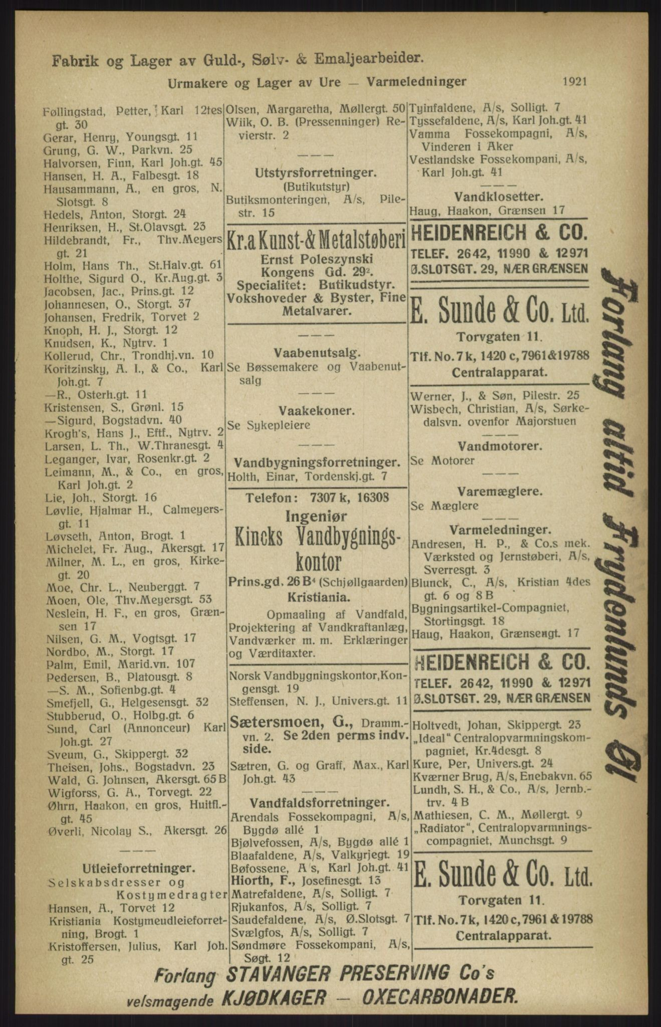 RA, Kristiania adressebok (publikasjon)*, 1915, s. 1921