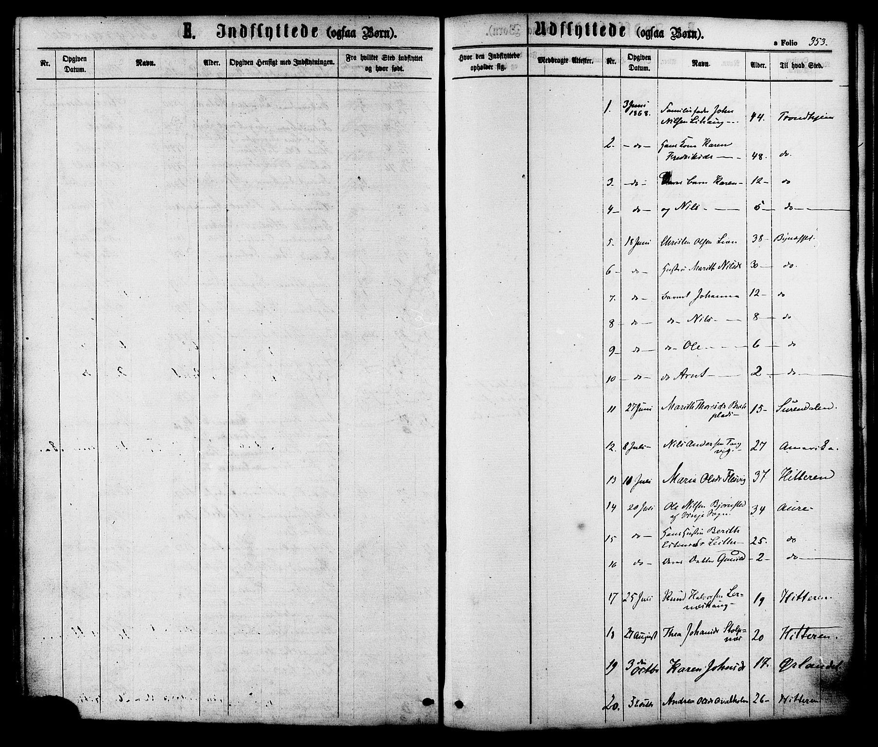SAT, Ministerialprotokoller, klokkerbøker og fødselsregistre - Sør-Trøndelag, 630/L0495: Ministerialbok nr. 630A08, 1868-1878, s. 353