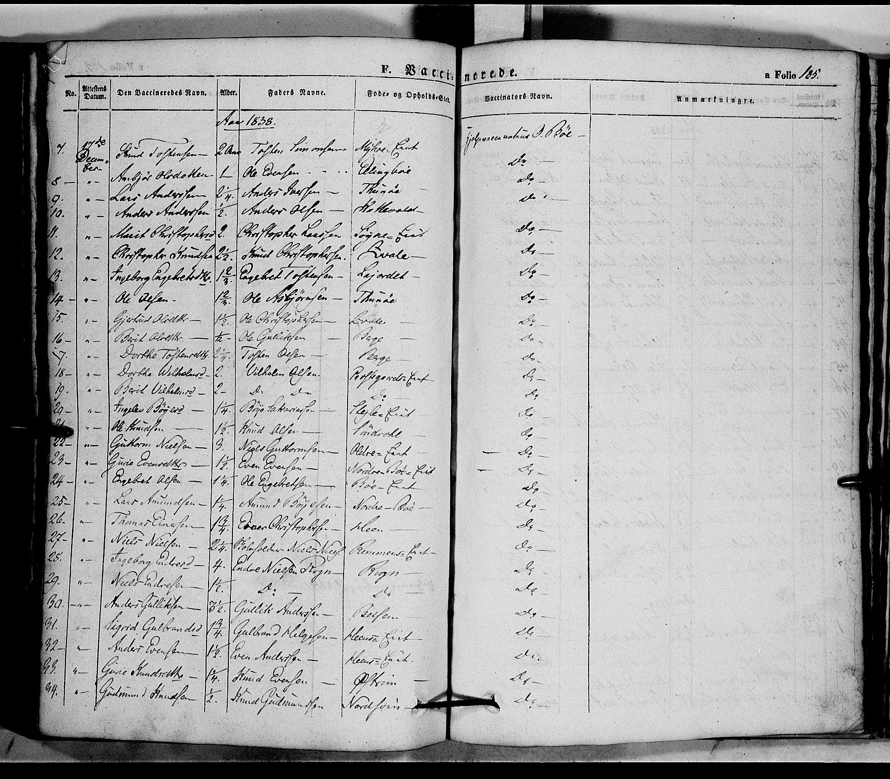 SAH, Vang prestekontor, Valdres, Ministerialbok nr. 5, 1831-1845, s. 185