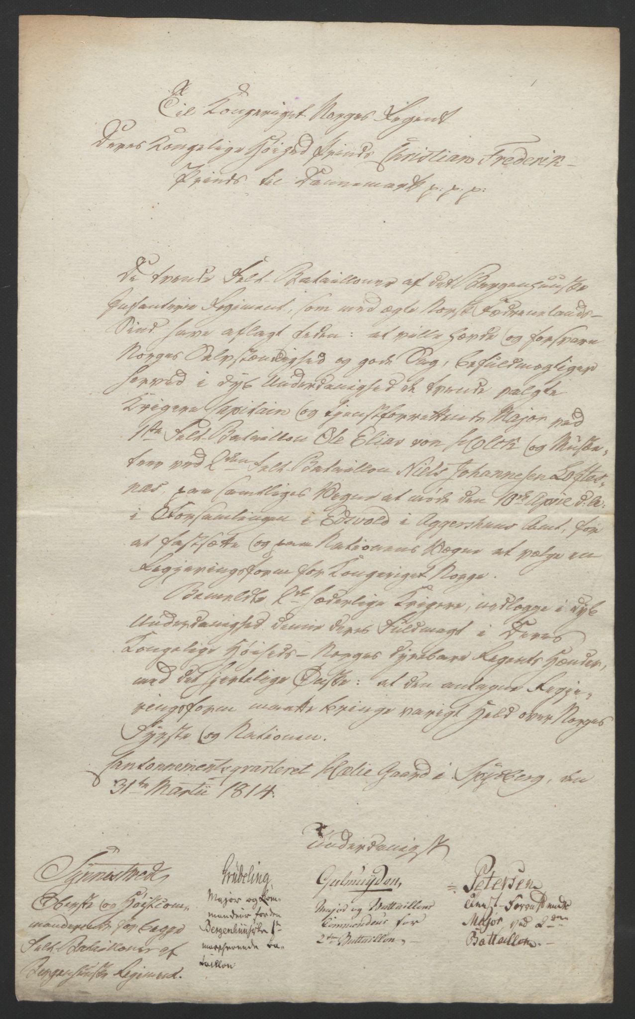 RA, Statsrådssekretariatet, D/Db/L0007: Fullmakter for Eidsvollsrepresentantene i 1814. , 1814, s. 73