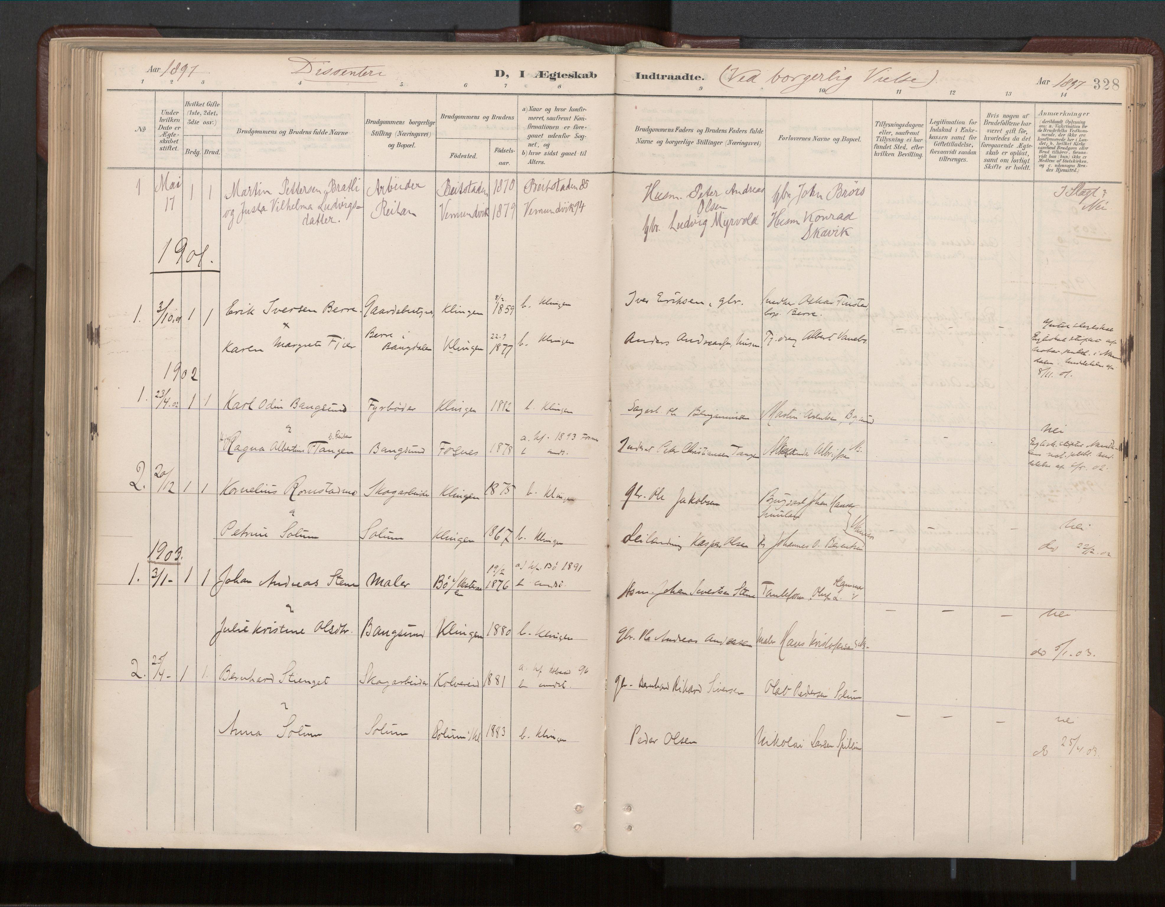 SAT, Ministerialprotokoller, klokkerbøker og fødselsregistre - Nord-Trøndelag, 770/L0589: Ministerialbok nr. 770A03, 1887-1929, s. 328