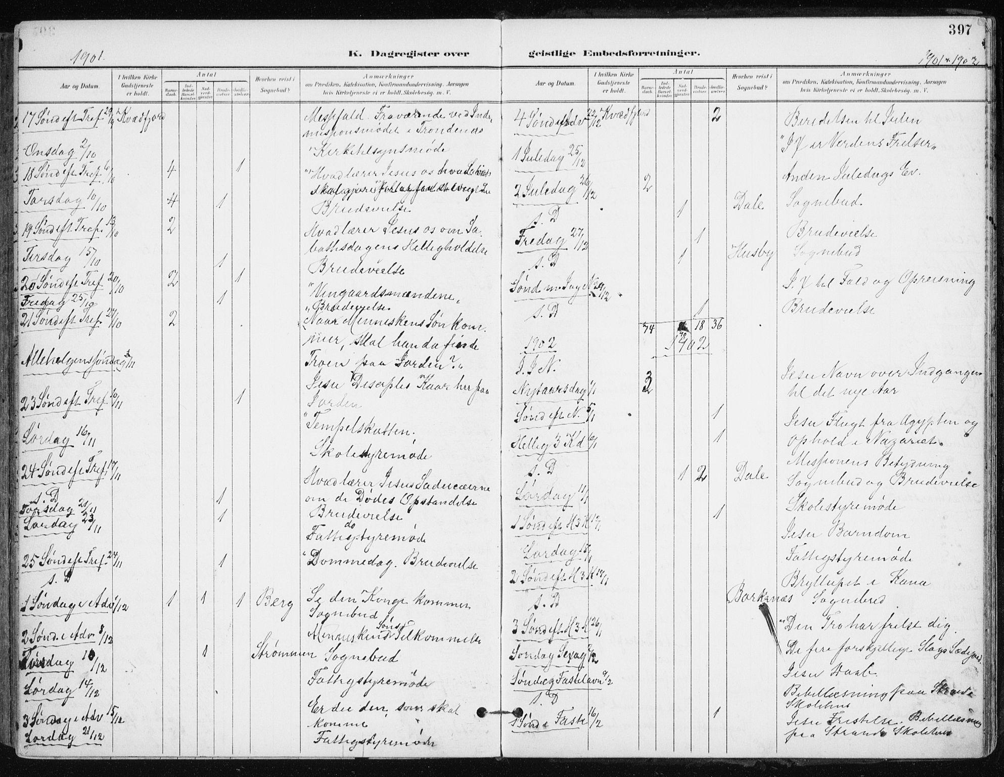 SATØ, Kvæfjord sokneprestkontor, G/Ga/Gaa/L0006kirke: Ministerialbok nr. 6, 1895-1914, s. 397