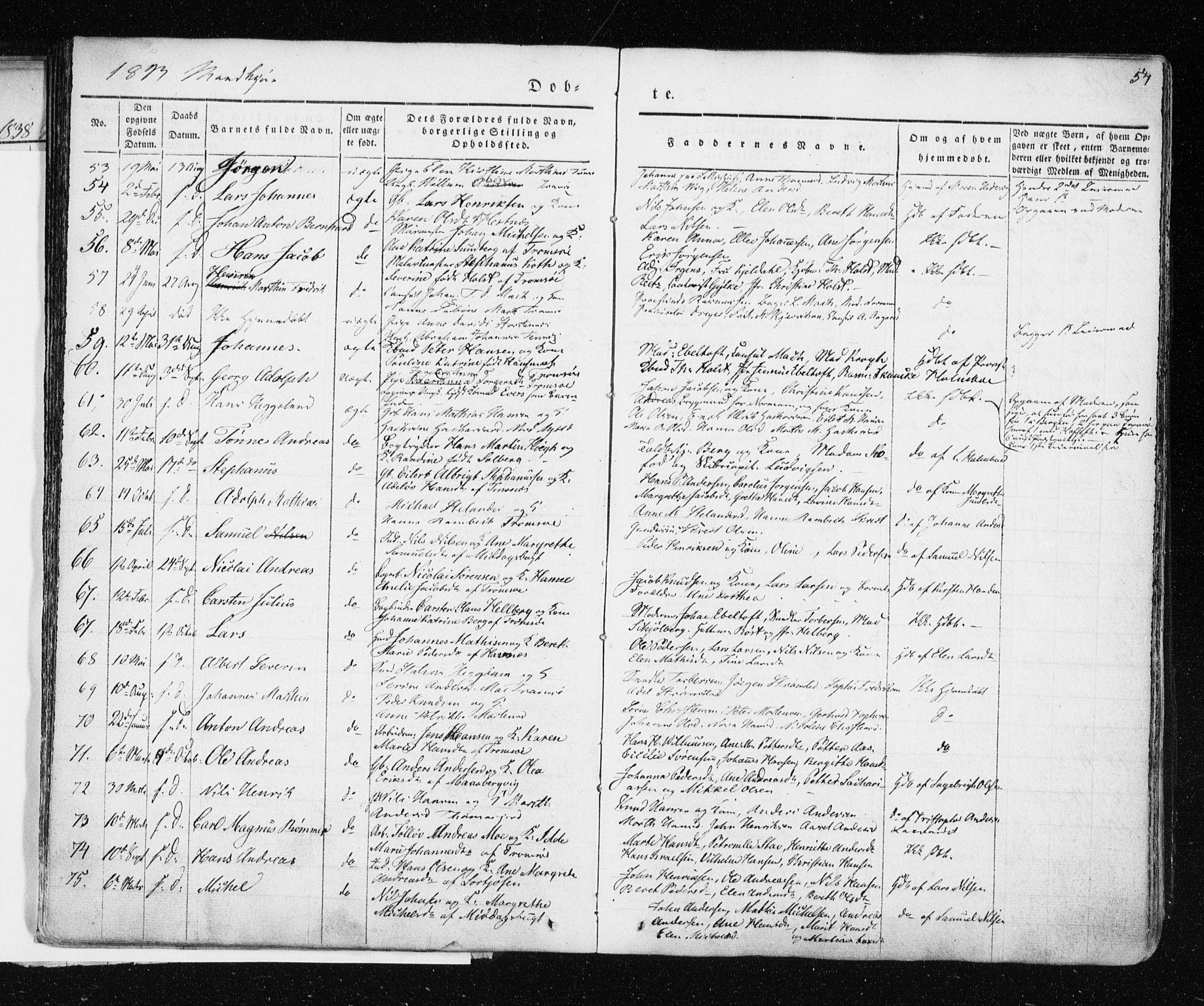SATØ, Tromsø sokneprestkontor/stiftsprosti/domprosti, G/Ga/L0009kirke: Ministerialbok nr. 9, 1837-1847, s. 54