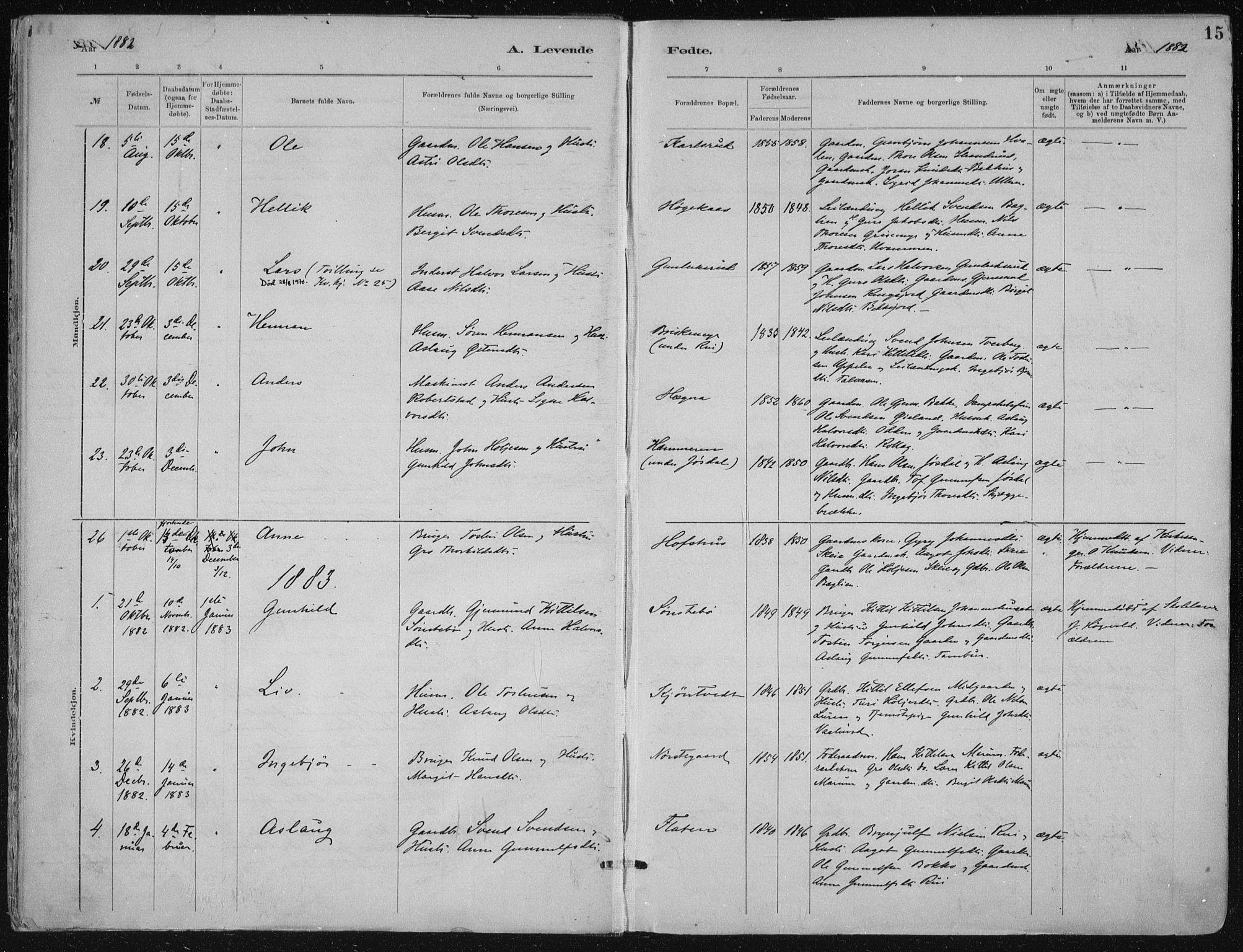 SAKO, Tinn kirkebøker, F/Fa/L0007: Ministerialbok nr. I 7, 1878-1922, s. 15