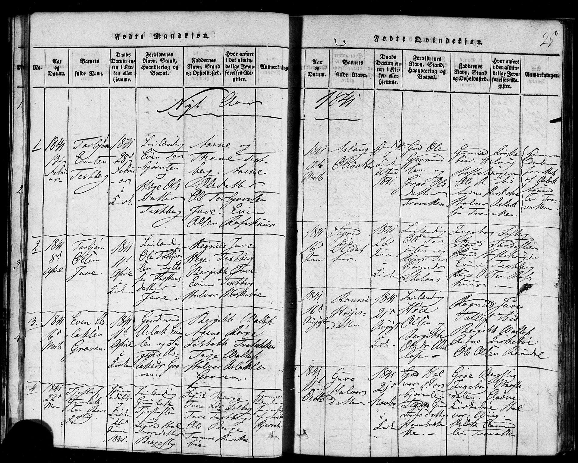 SAKO, Rauland kirkebøker, F/Fa/L0002: Ministerialbok nr. 2, 1815-1860, s. 25