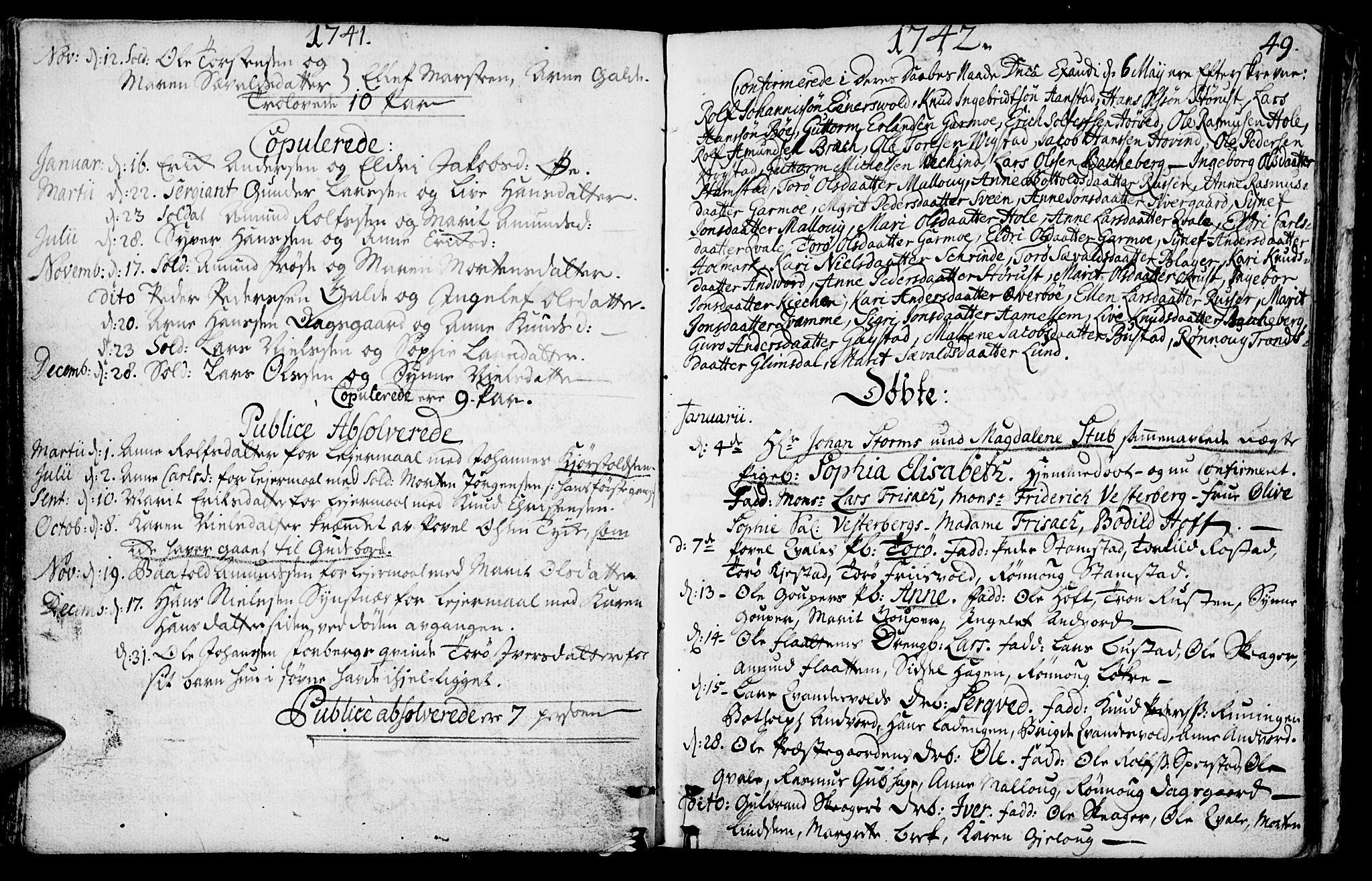 SAH, Lom prestekontor, K/L0001: Ministerialbok nr. 1, 1733-1748, s. 49