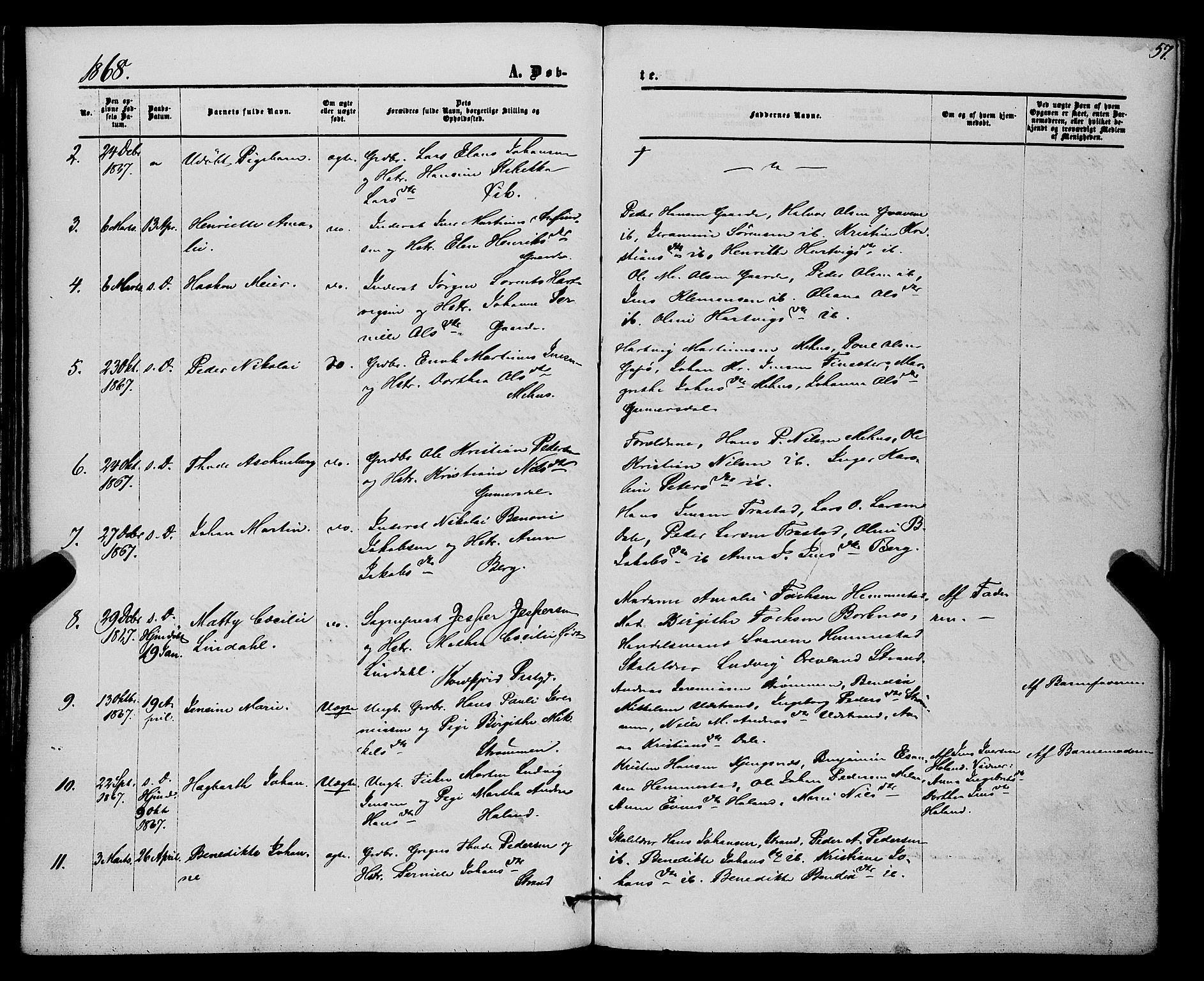 SATØ, Kvæfjord sokneprestkontor, G/Ga/Gaa/L0004kirke: Ministerialbok nr. 4, 1857-1877, s. 57