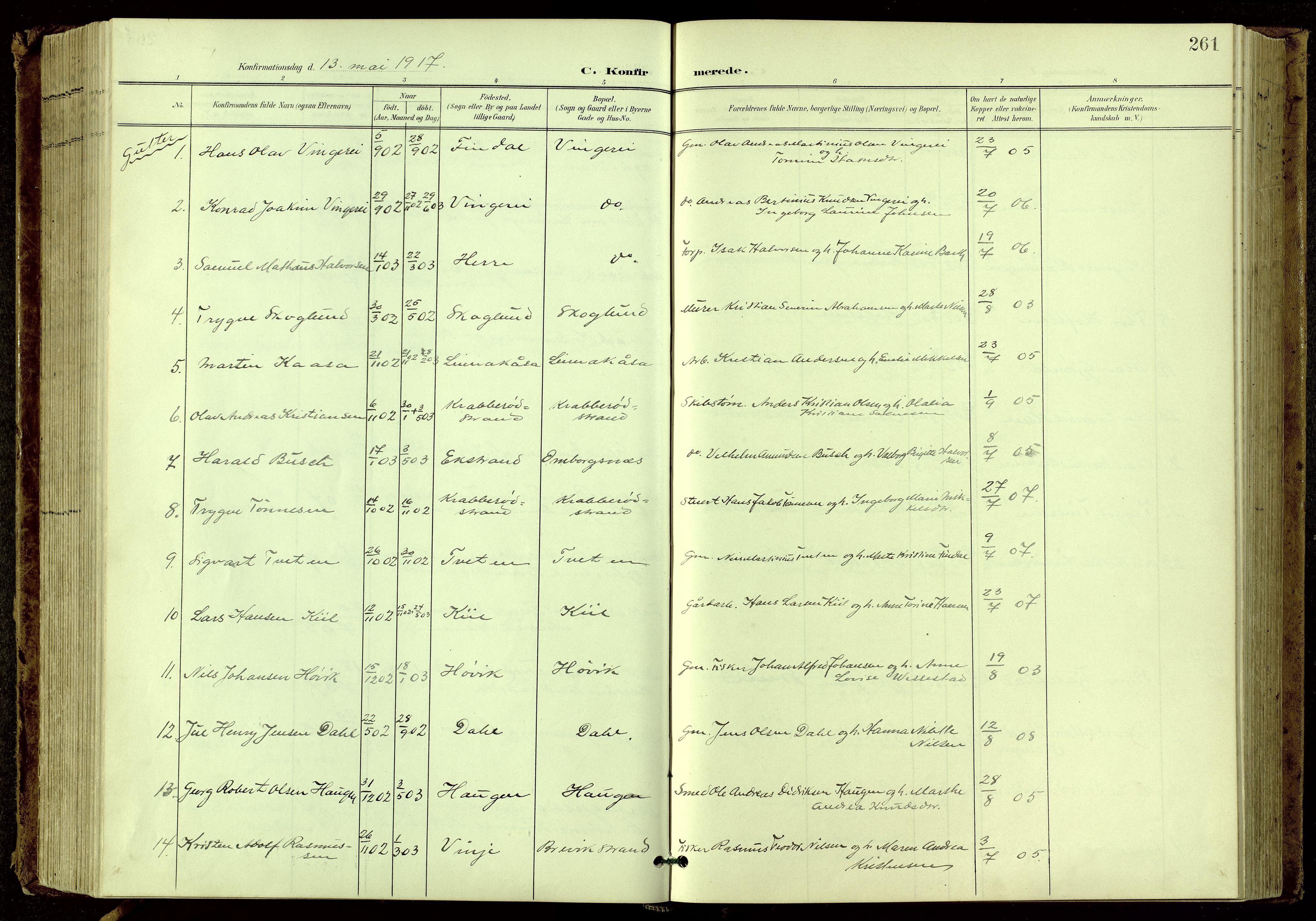 SAKO, Bamble kirkebøker, G/Ga/L0010: Klokkerbok nr. I 10, 1901-1919, s. 261