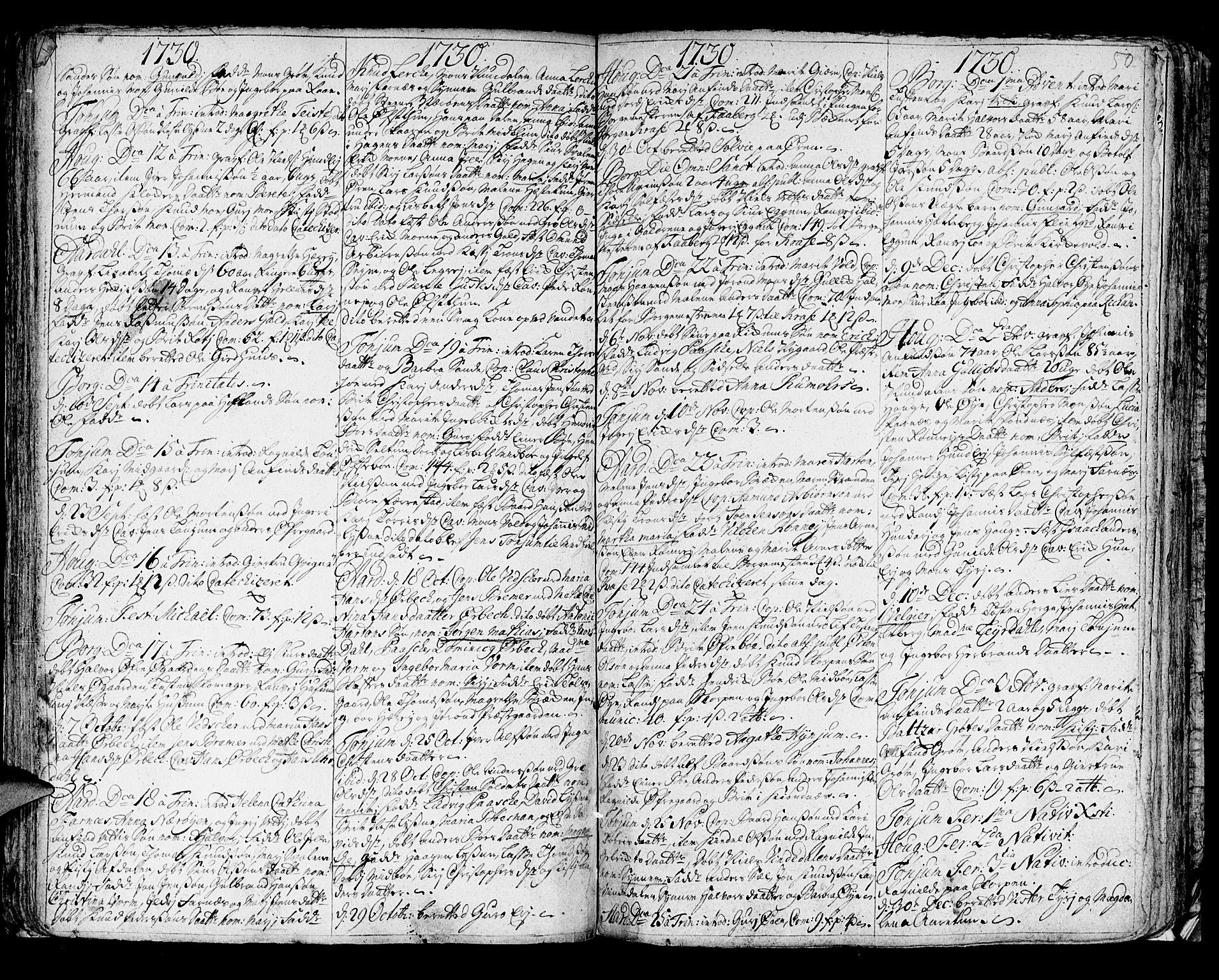 SAB, Lærdal sokneprestembete, Ministerialbok nr. A 1, 1711-1752, s. 50