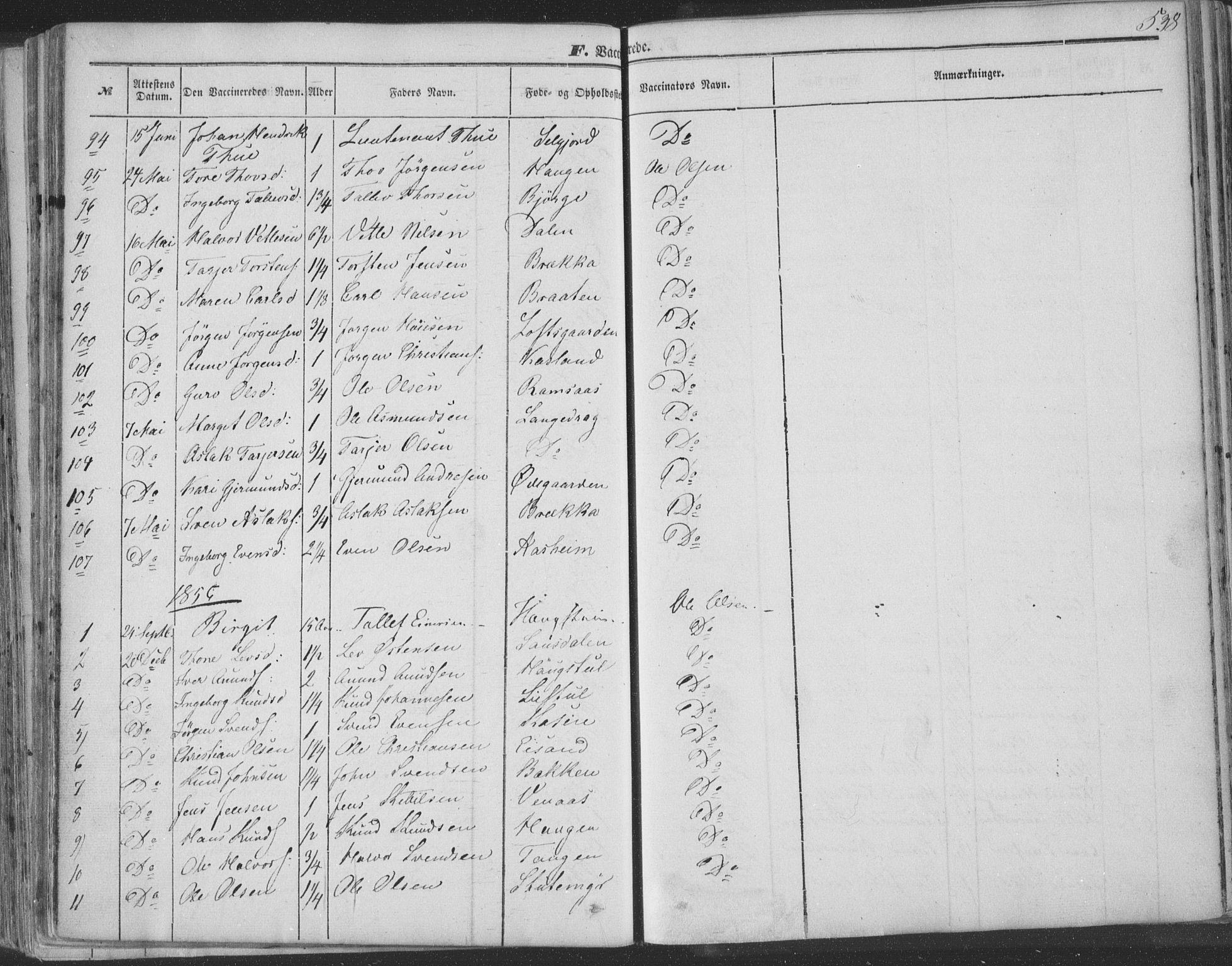 SAKO, Seljord kirkebøker, F/Fa/L012b: Ministerialbok nr. I 12B, 1850-1865, s. 538