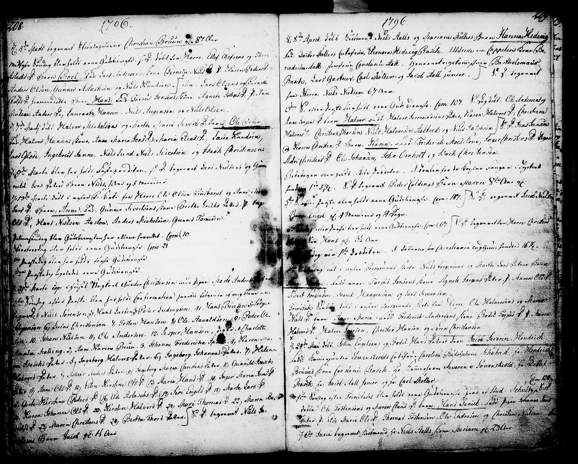 SAKO, Porsgrunn kirkebøker , F/Fa/L0002: Ministerialbok nr. 2, 1764-1814, s. 208-209