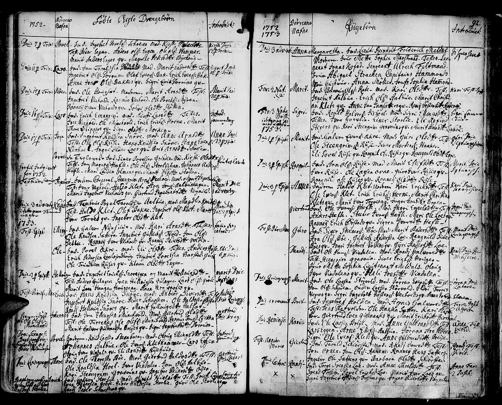 SAT, Ministerialprotokoller, klokkerbøker og fødselsregistre - Sør-Trøndelag, 678/L0891: Ministerialbok nr. 678A01, 1739-1780, s. 92