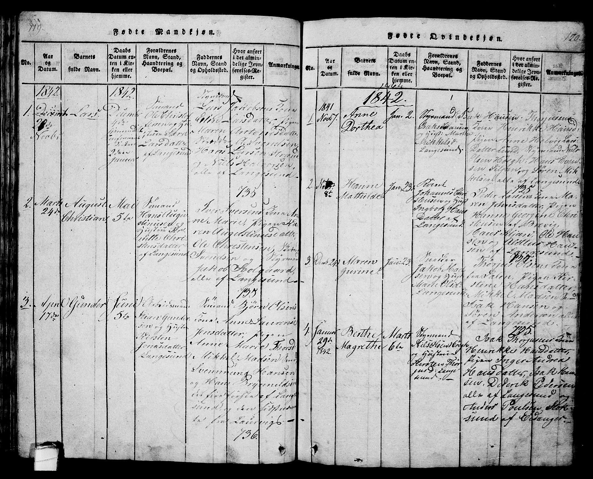 SAKO, Langesund kirkebøker, G/Ga/L0003: Klokkerbok nr. 3, 1815-1858, s. 119-120