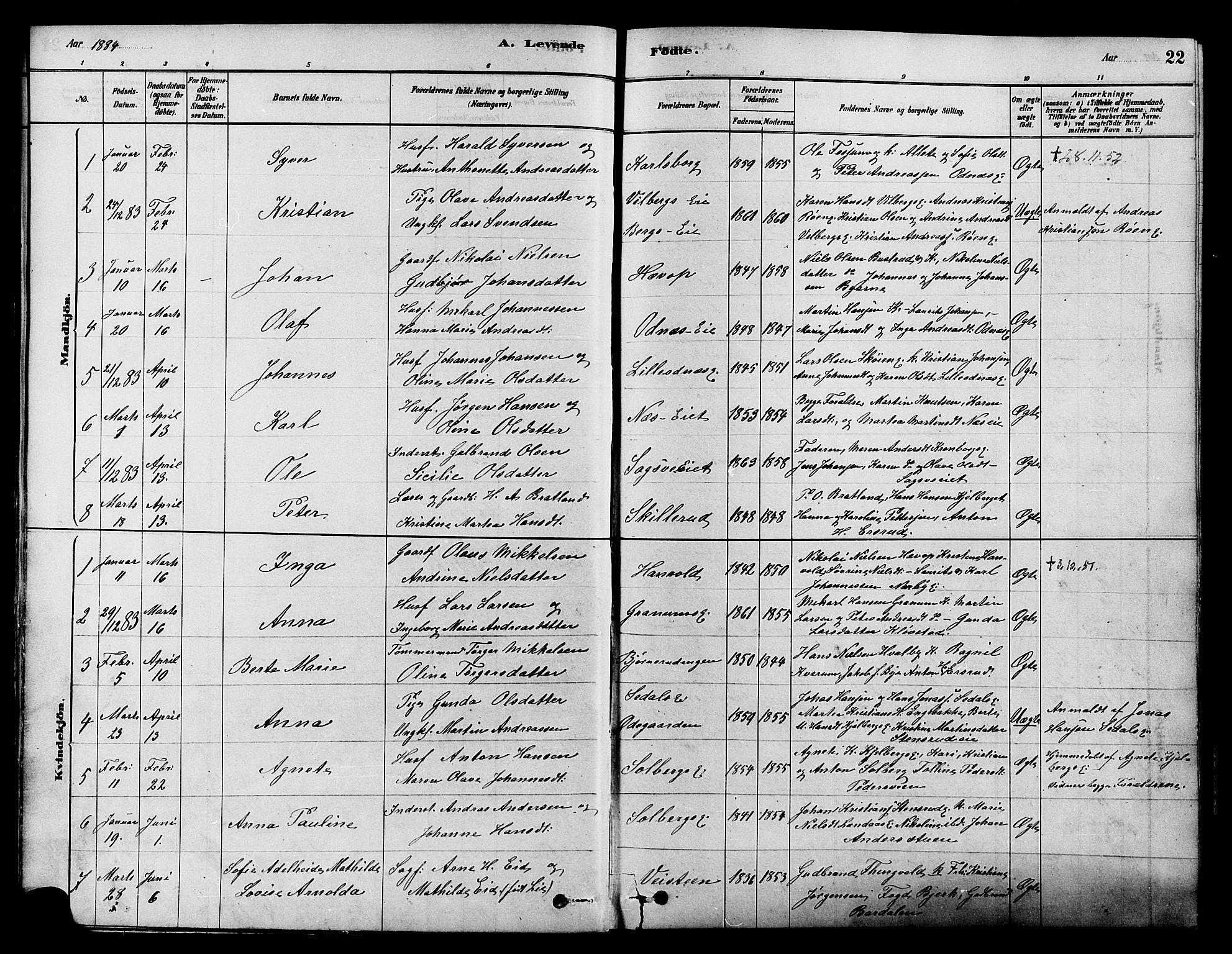 SAH, Søndre Land prestekontor, K/L0002: Ministerialbok nr. 2, 1878-1894, s. 22