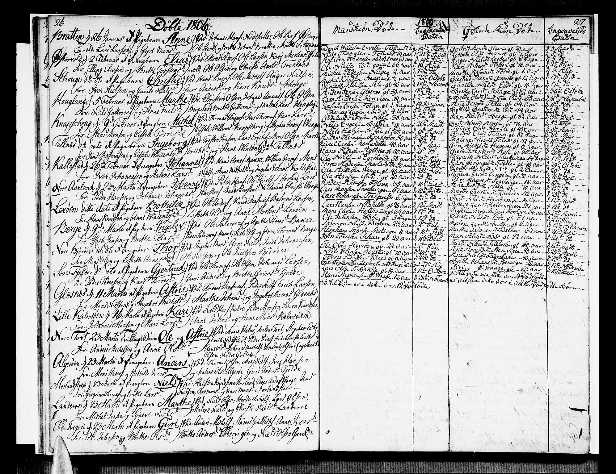 SAB, Sund sokneprestembete, Ministerialbok nr. A 10, 1804-1818, s. 26-27