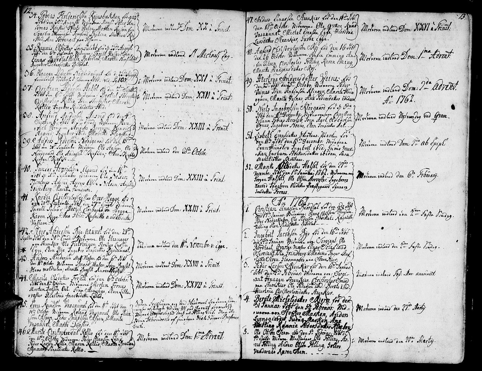 SAT, Ministerialprotokoller, klokkerbøker og fødselsregistre - Nord-Trøndelag, 746/L0440: Ministerialbok nr. 746A02, 1760-1815, s. 12-13
