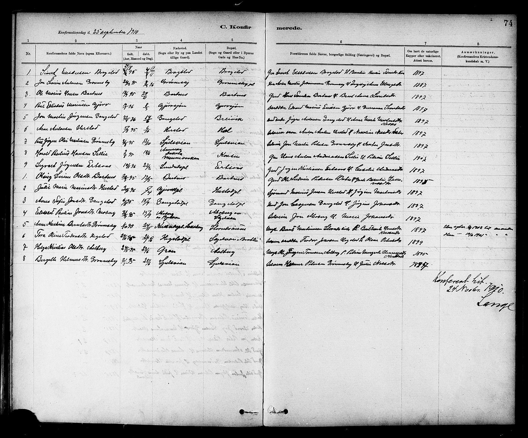 SAT, Ministerialprotokoller, klokkerbøker og fødselsregistre - Nord-Trøndelag, 732/L0318: Klokkerbok nr. 732C02, 1881-1911, s. 74