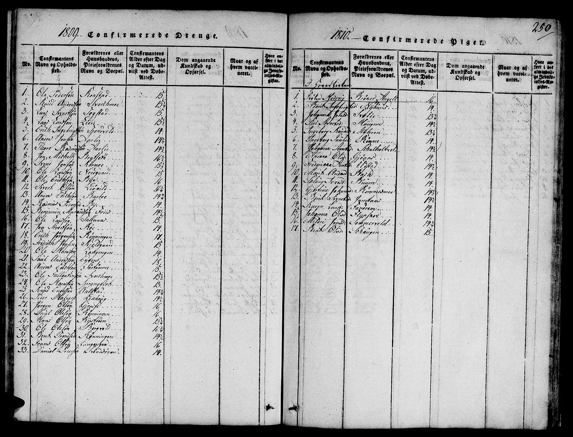 SAT, Ministerialprotokoller, klokkerbøker og fødselsregistre - Sør-Trøndelag, 668/L0803: Ministerialbok nr. 668A03, 1800-1826, s. 250