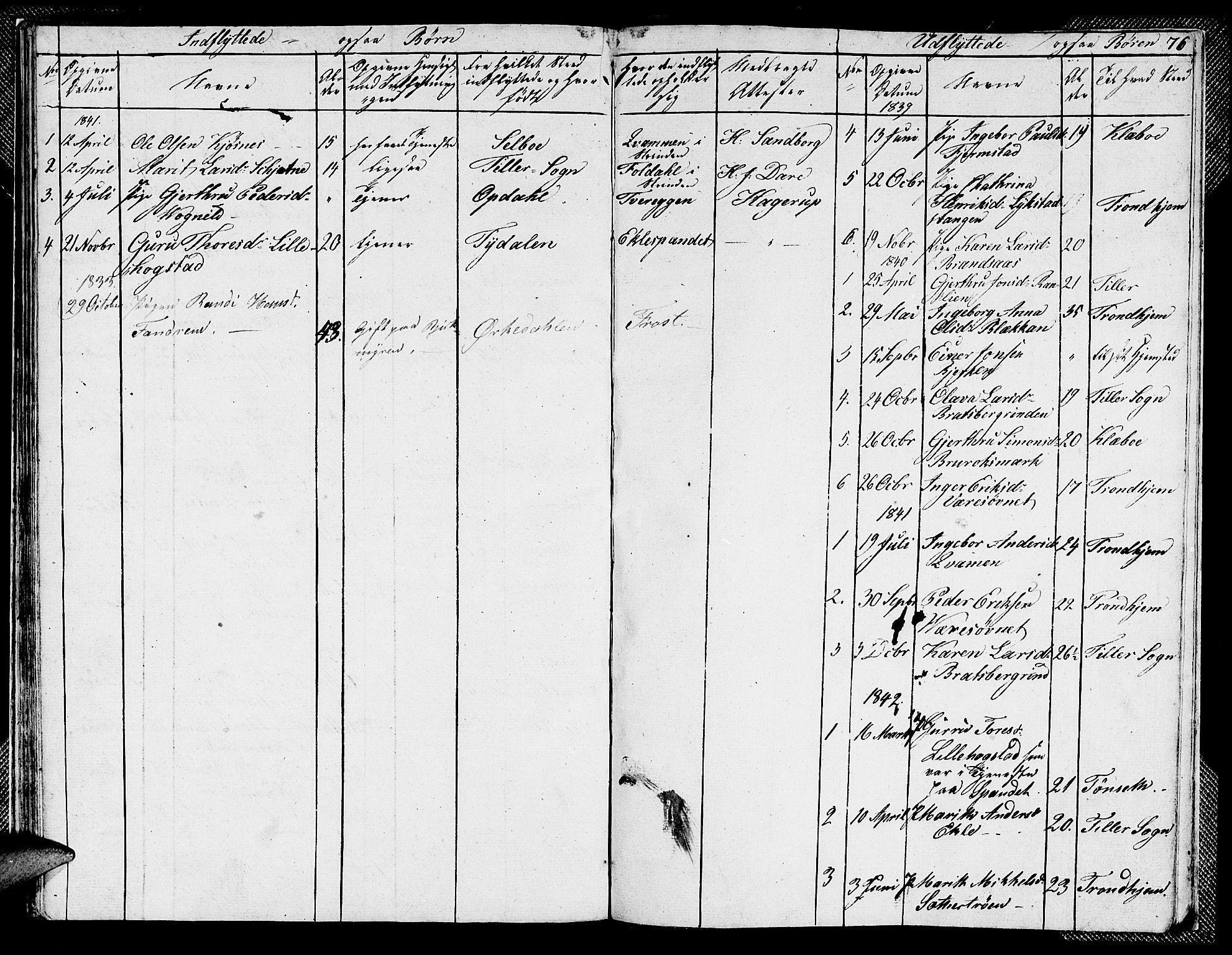 SAT, Ministerialprotokoller, klokkerbøker og fødselsregistre - Sør-Trøndelag, 608/L0338: Klokkerbok nr. 608C04, 1831-1843, s. 76