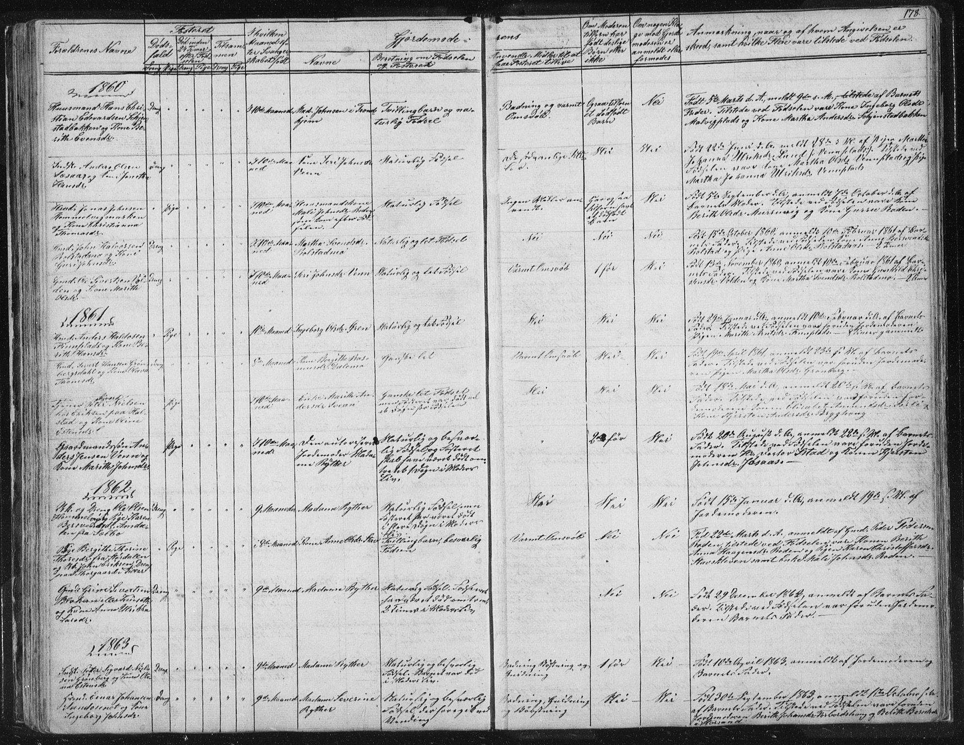 SAT, Ministerialprotokoller, klokkerbøker og fødselsregistre - Sør-Trøndelag, 616/L0406: Ministerialbok nr. 616A03, 1843-1879, s. 178