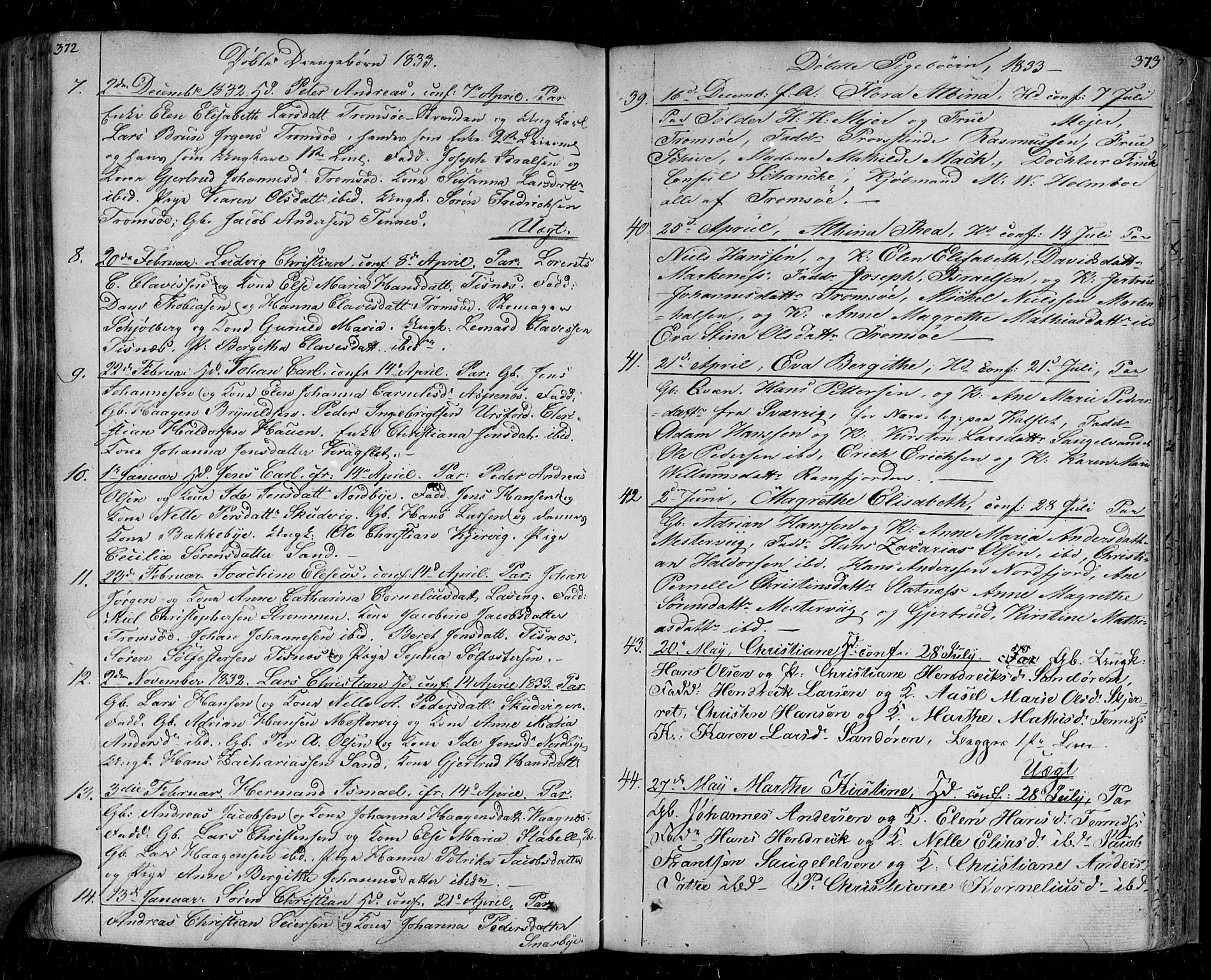 SATØ, Tromsø sokneprestkontor/stiftsprosti/domprosti, G/Ga/L0008kirke: Ministerialbok nr. 8, 1829-1837, s. 372-373