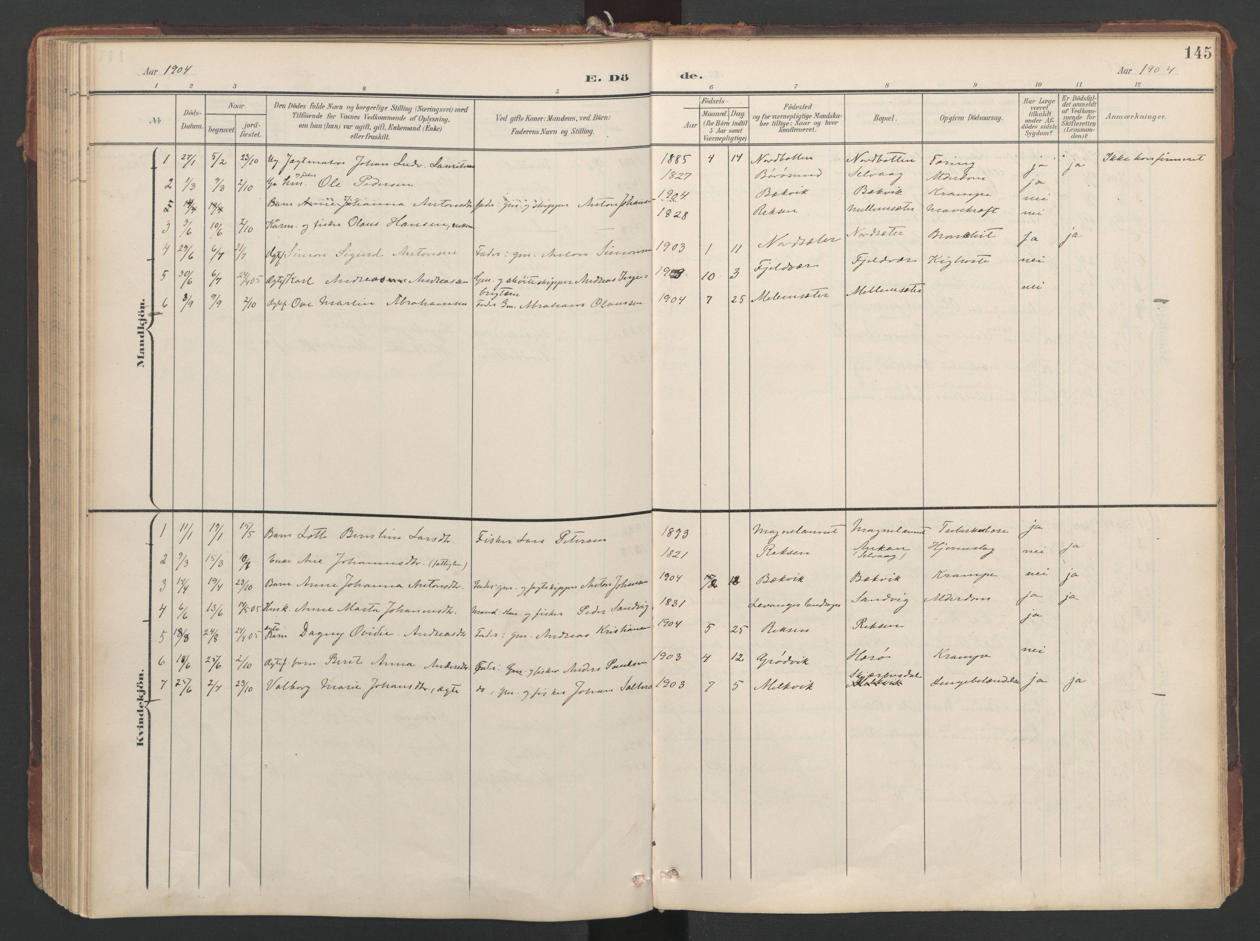 SAT, Ministerialprotokoller, klokkerbøker og fødselsregistre - Sør-Trøndelag, 638/L0568: Ministerialbok nr. 638A01, 1901-1916, s. 145