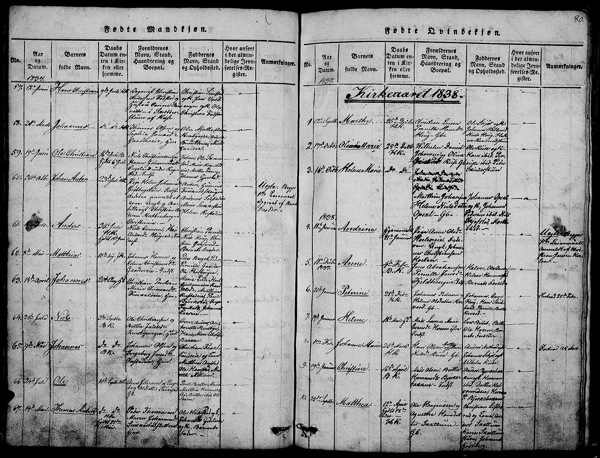 SAH, Østre Toten prestekontor, Klokkerbok nr. 1, 1827-1839, s. 80