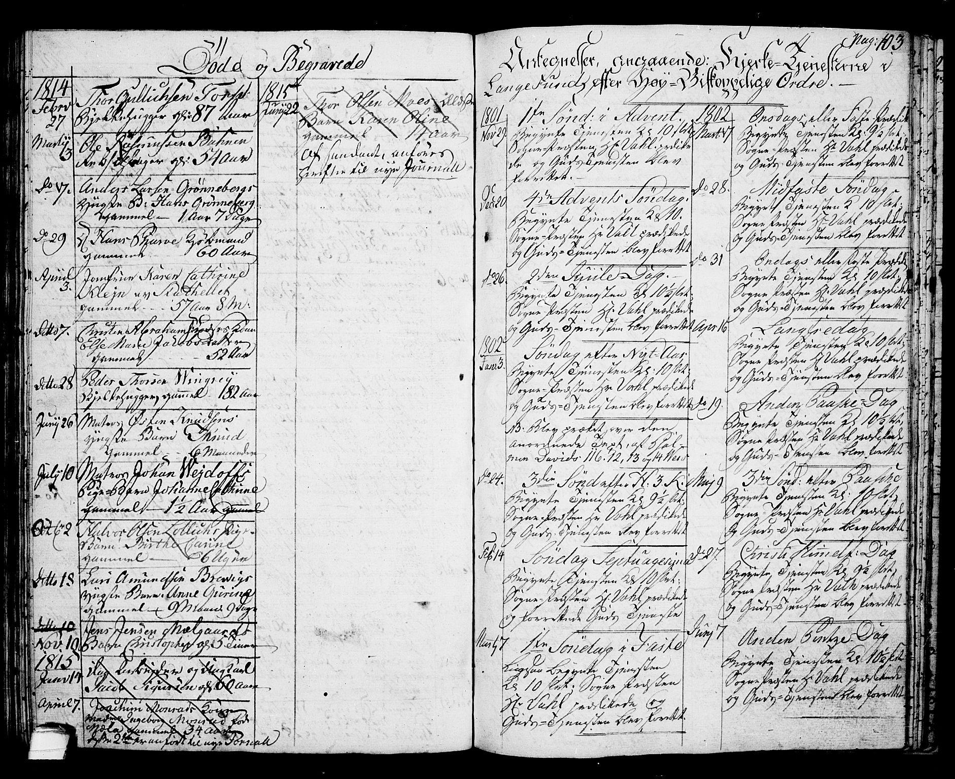 SAKO, Langesund kirkebøker, G/Ga/L0002: Klokkerbok nr. 2, 1801-1815, s. 103