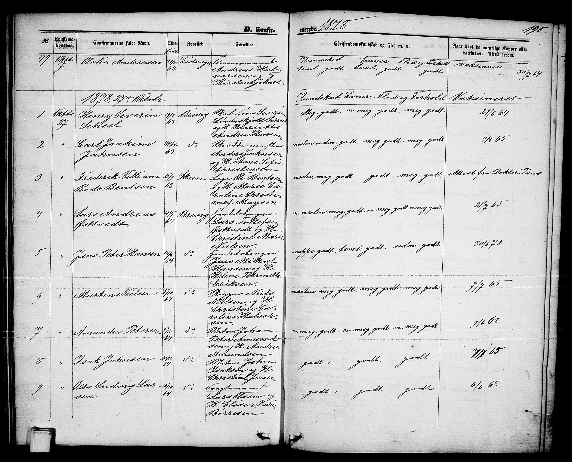 SAKO, Brevik kirkebøker, G/Ga/L0003: Klokkerbok nr. 3, 1866-1881, s. 190