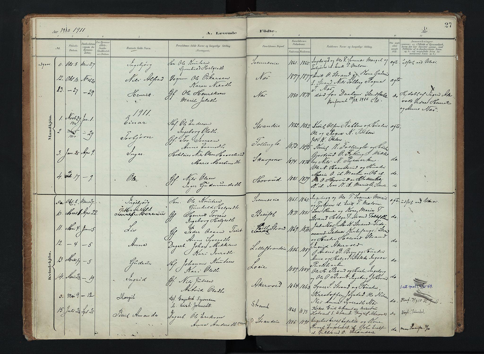 SAH, Nord-Aurdal prestekontor, Ministerialbok nr. 16, 1897-1925, s. 27