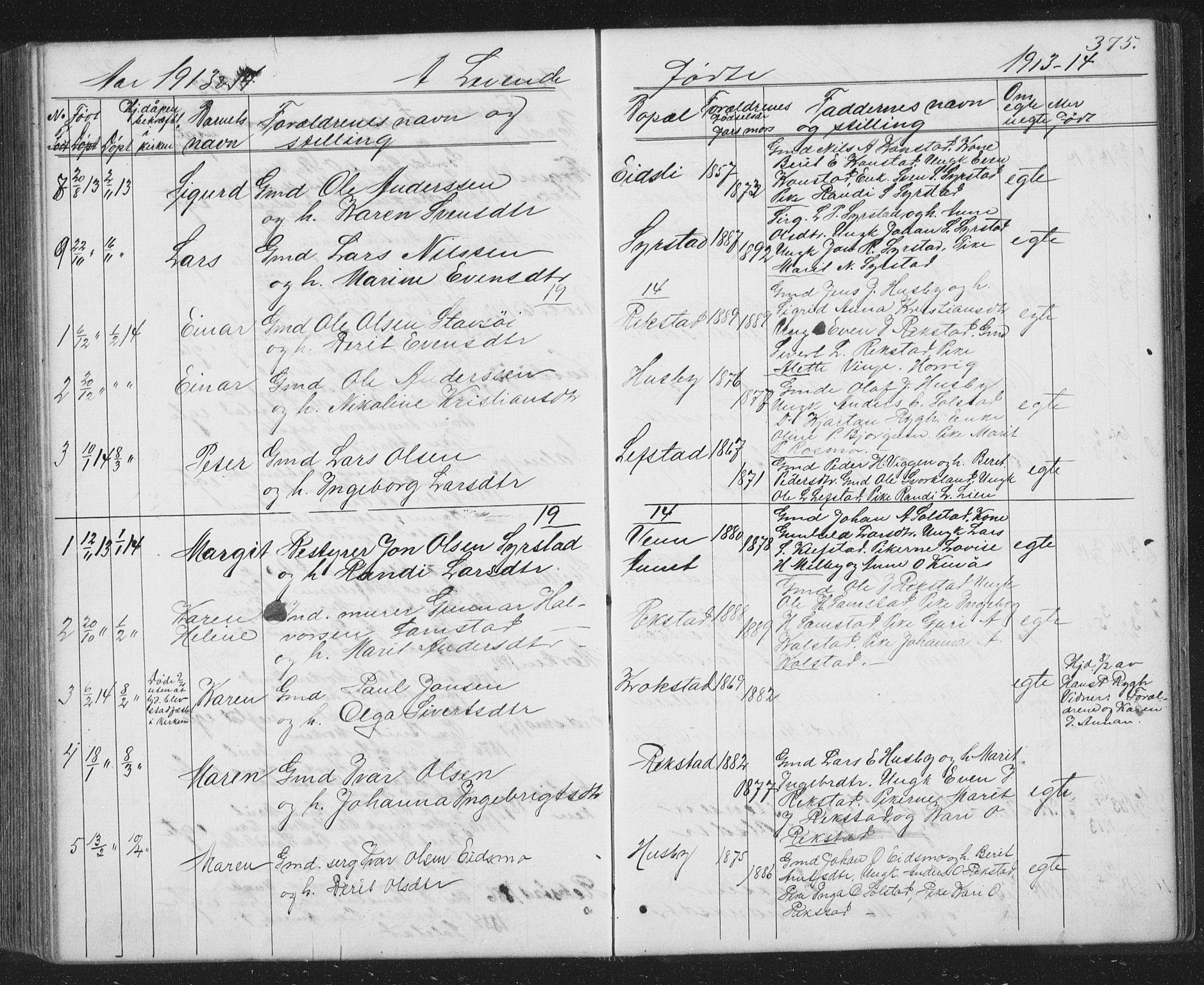 SAT, Ministerialprotokoller, klokkerbøker og fødselsregistre - Sør-Trøndelag, 667/L0798: Klokkerbok nr. 667C03, 1867-1929, s. 375