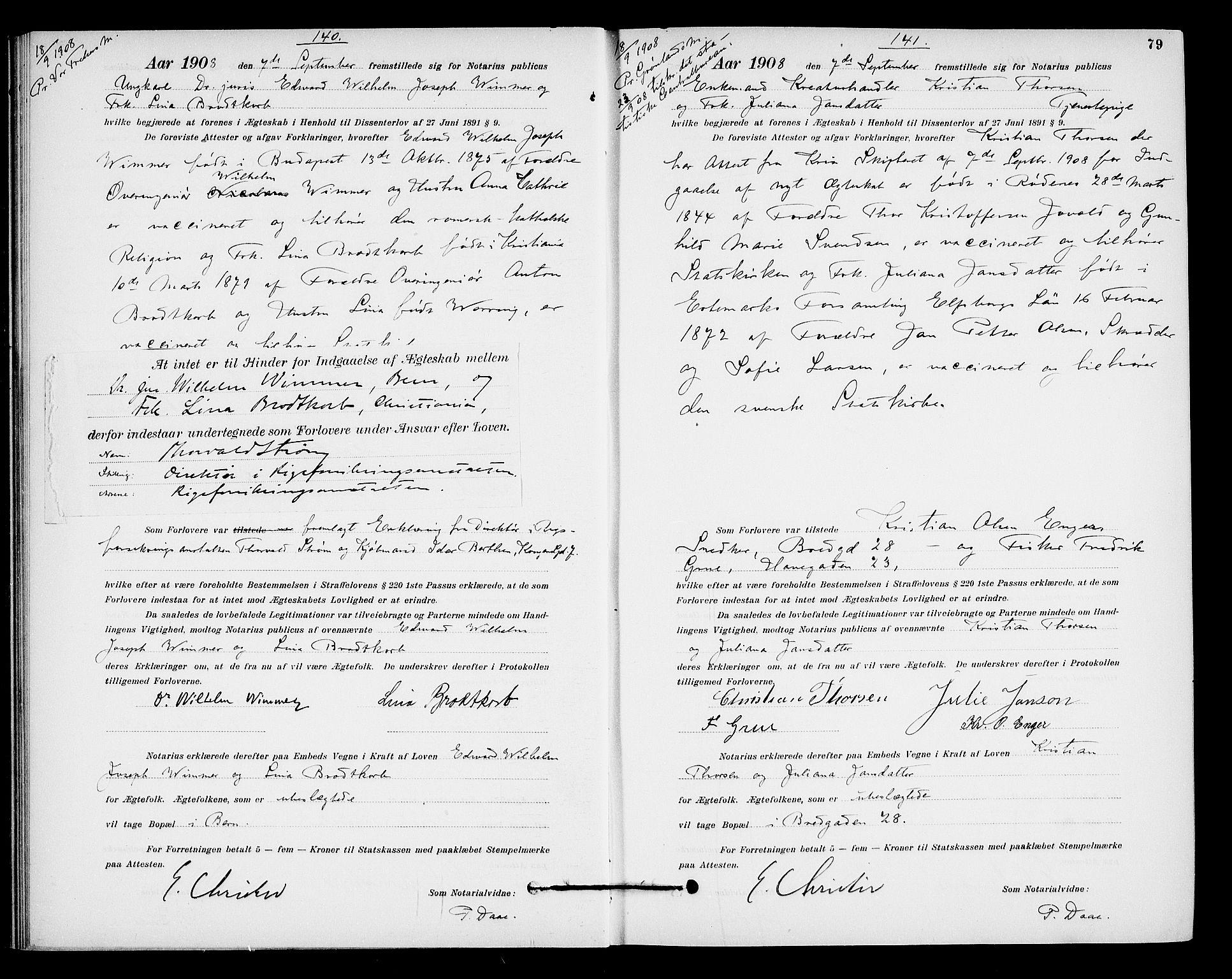 SAO, Oslo byfogd avd. I, L/Lb/Lbb/L0007: Notarialprotokoll, rekke II: Vigsler, 1907-1911, s. 78b-79a