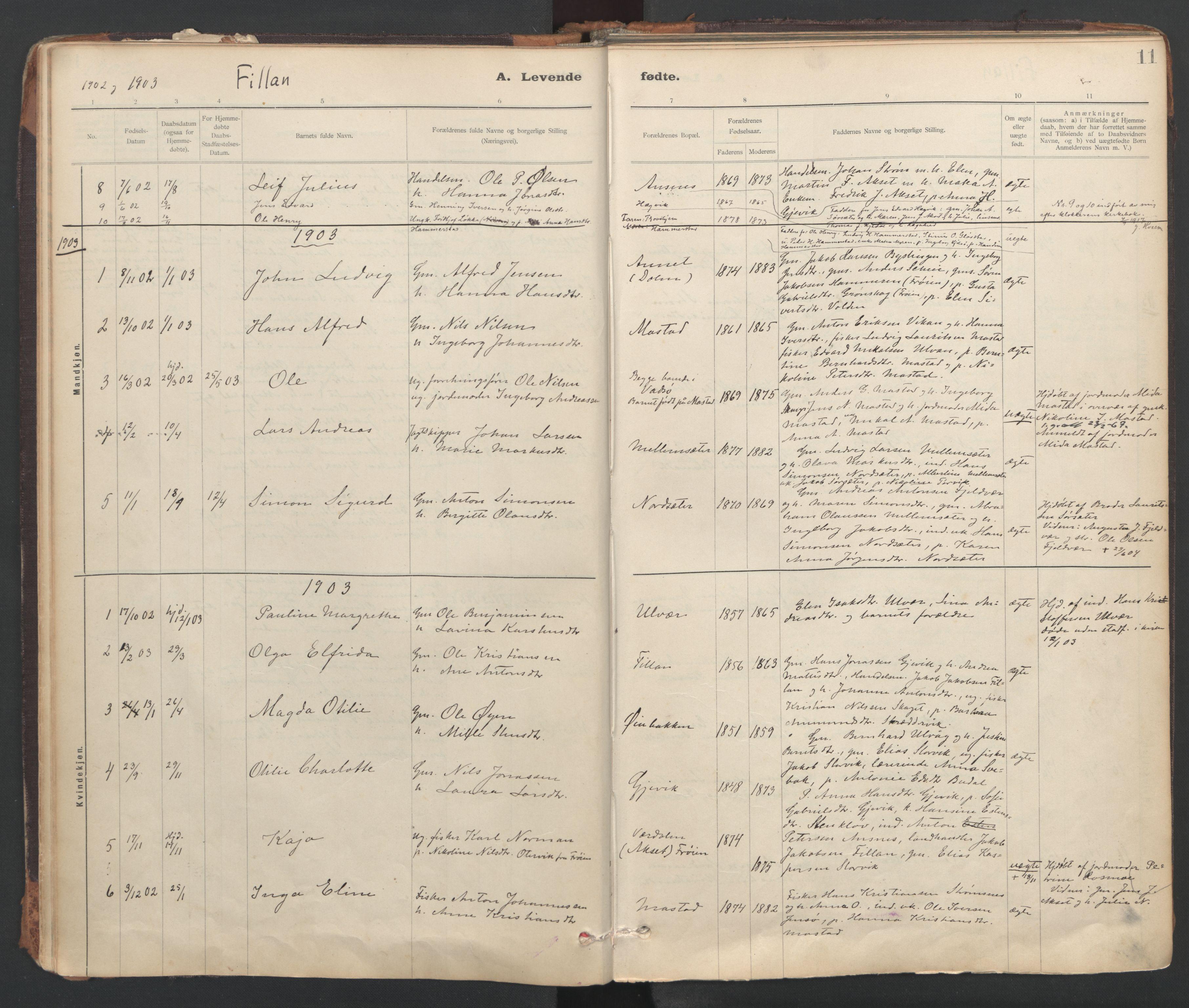 SAT, Ministerialprotokoller, klokkerbøker og fødselsregistre - Sør-Trøndelag, 637/L0559: Ministerialbok nr. 637A02, 1899-1923, s. 11