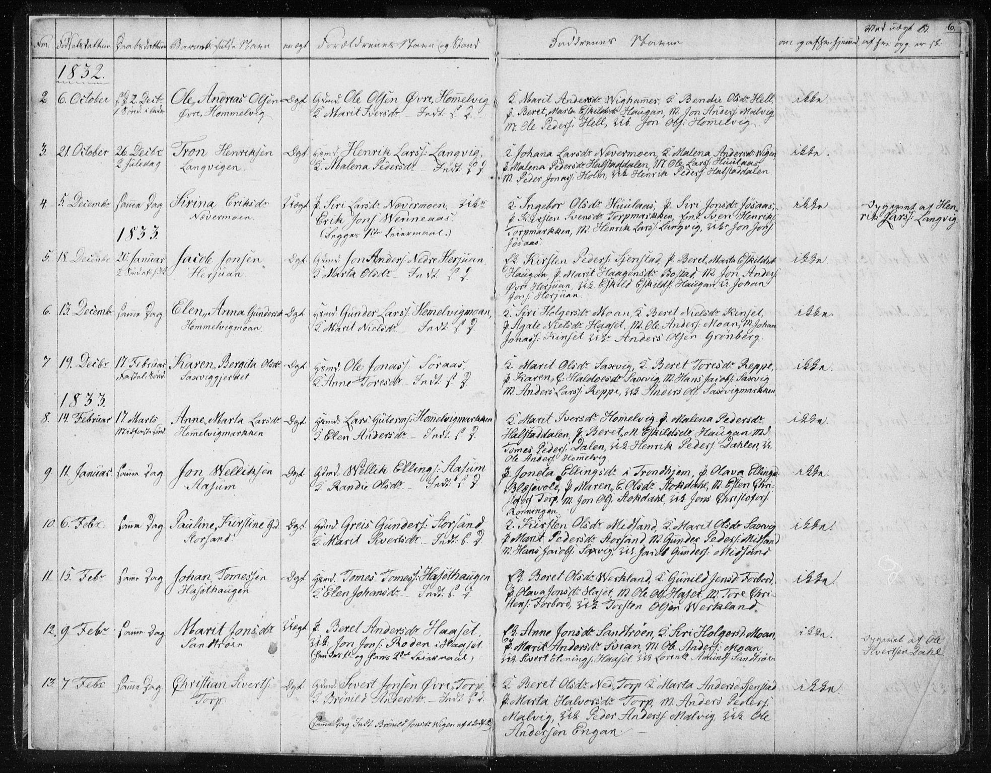 SAT, Ministerialprotokoller, klokkerbøker og fødselsregistre - Sør-Trøndelag, 616/L0405: Ministerialbok nr. 616A02, 1831-1842, s. 6