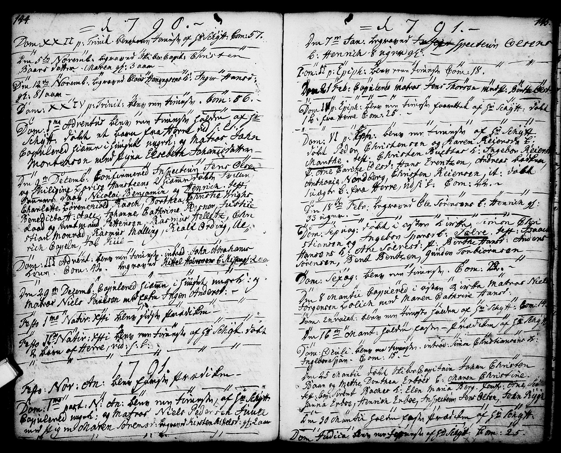 SAKO, Porsgrunn kirkebøker , F/Fa/L0001: Ministerialbok nr. 1, 1764-1814, s. 144-145
