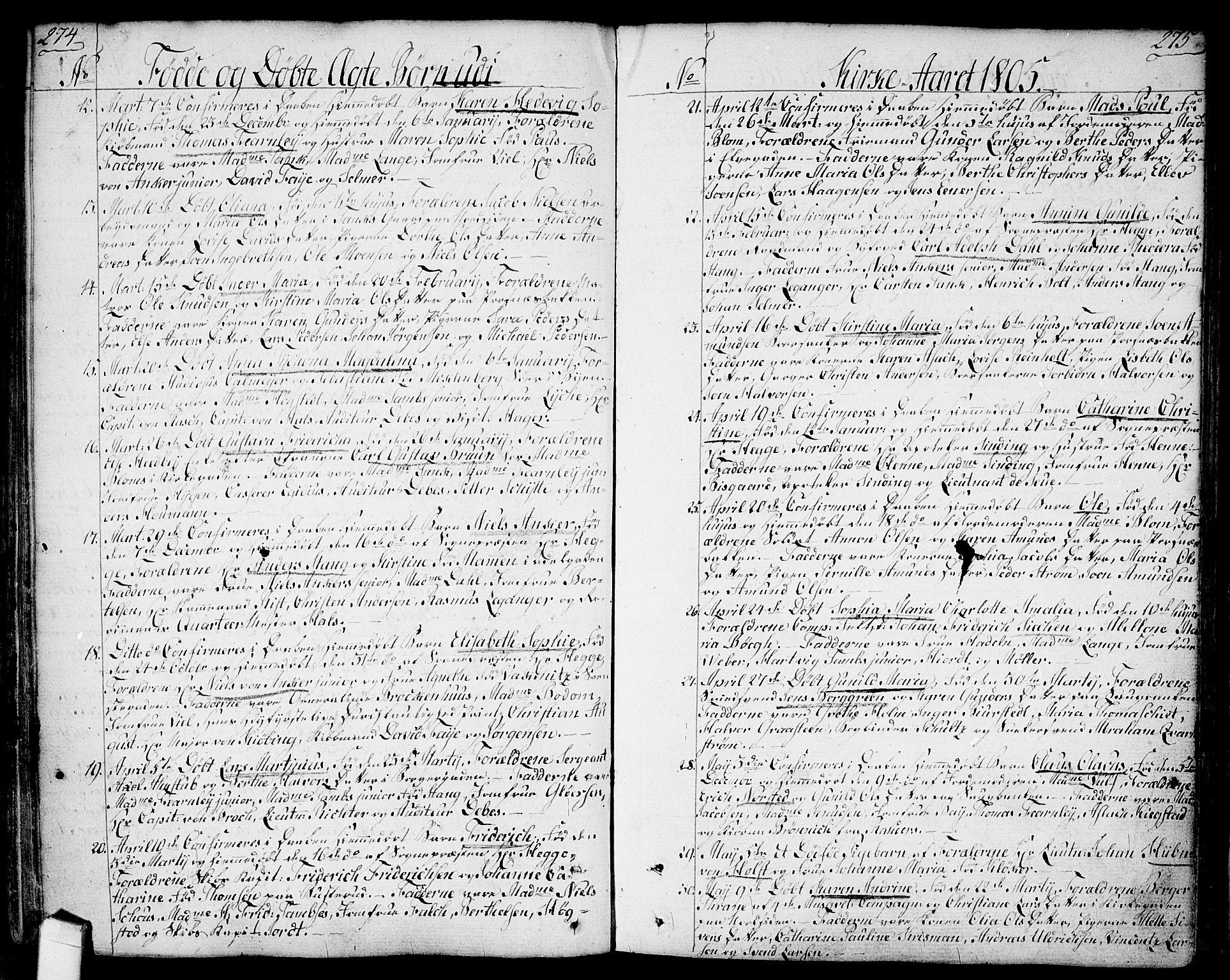 SAO, Halden prestekontor Kirkebøker, F/Fa/L0002: Ministerialbok nr. I 2, 1792-1812, s. 274-275
