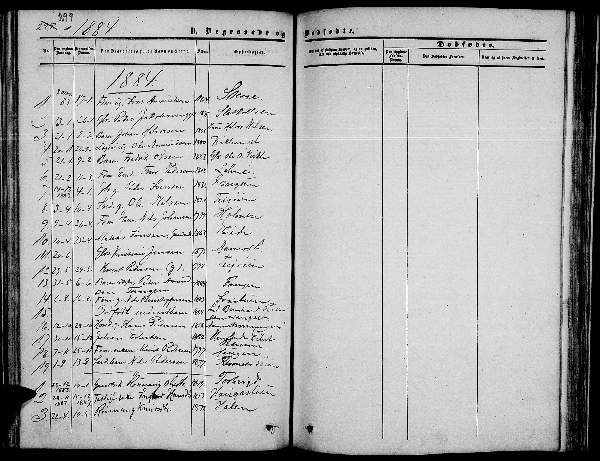 SAH, Nord-Fron prestekontor, Klokkerbok nr. 3, 1851-1886, s. 299