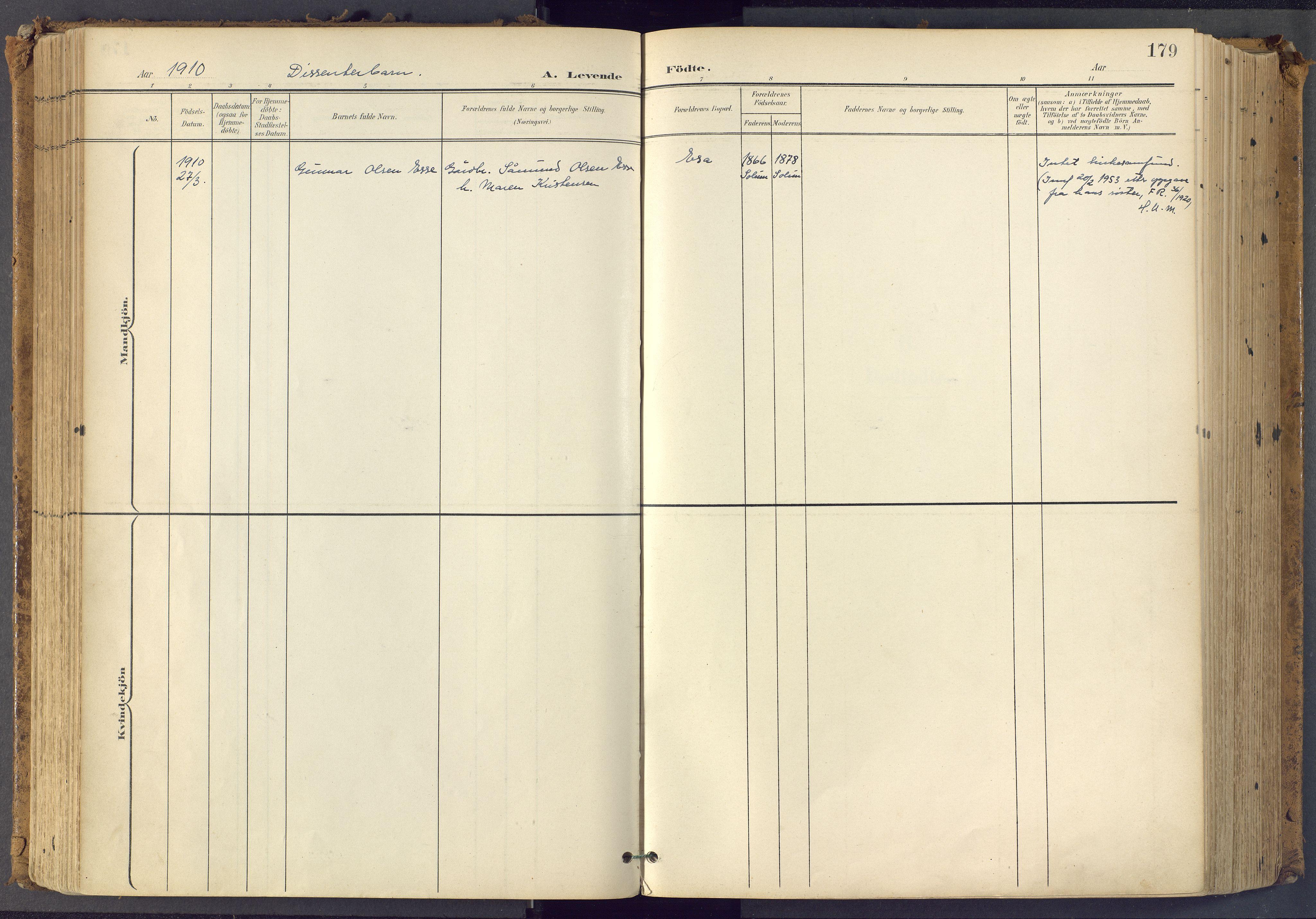 SAKO, Bamble kirkebøker, F/Fa/L0009: Ministerialbok nr. I 9, 1901-1917, s. 179