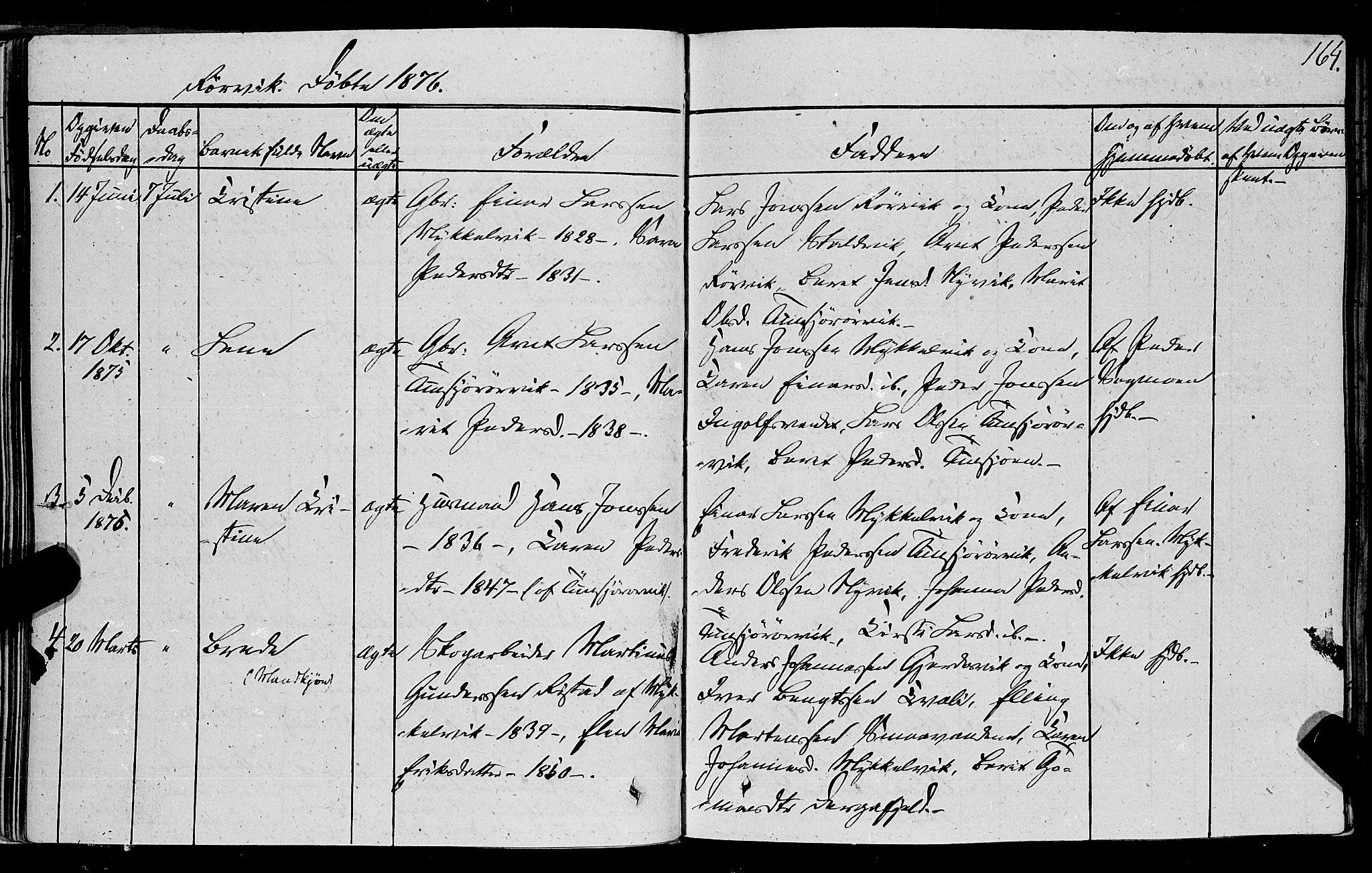SAT, Ministerialprotokoller, klokkerbøker og fødselsregistre - Nord-Trøndelag, 762/L0538: Ministerialbok nr. 762A02 /1, 1833-1879, s. 164