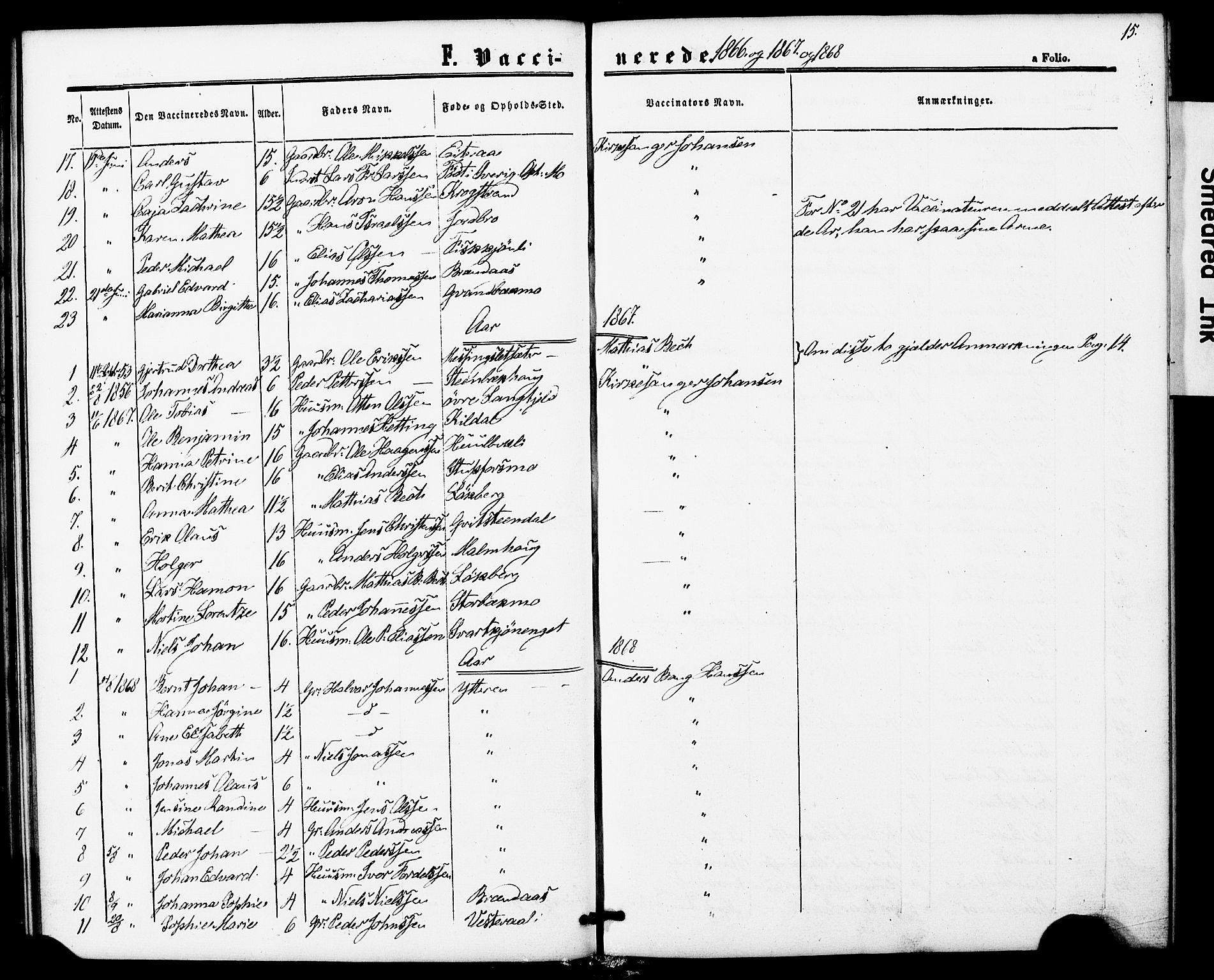 SAT, Ministerialprotokoller, klokkerbøker og fødselsregistre - Nordland, 827/L0397: Ministerialbok nr. 827A09, 1862-1876, s. 15