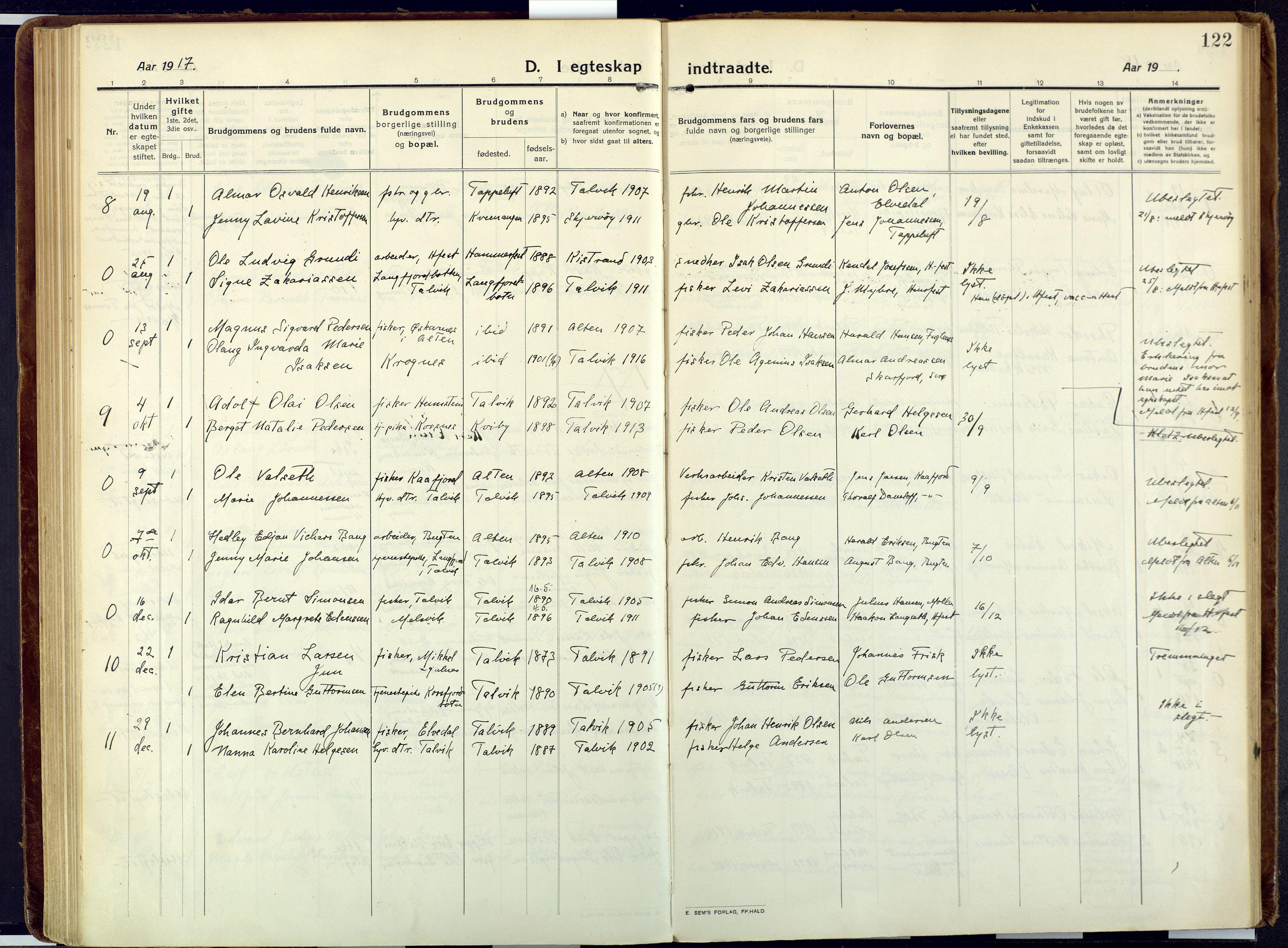 SATØ, Talvik sokneprestkontor, H/Ha/L0018kirke: Ministerialbok nr. 18, 1915-1924, s. 122