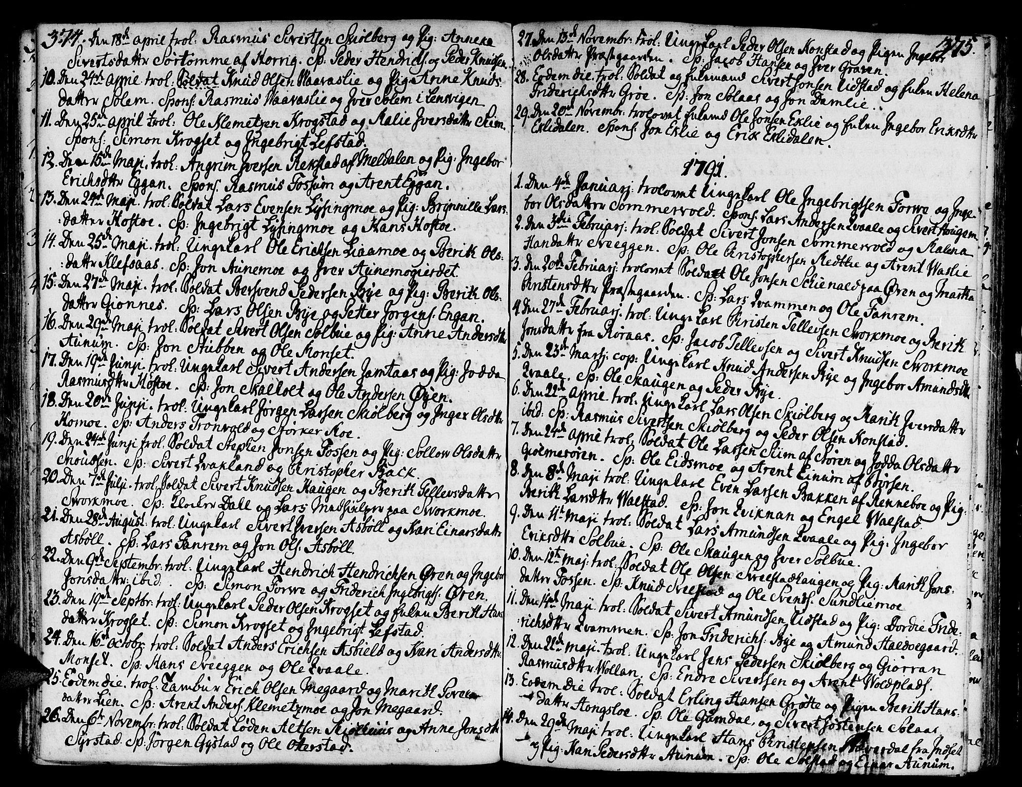 SAT, Ministerialprotokoller, klokkerbøker og fødselsregistre - Sør-Trøndelag, 668/L0802: Ministerialbok nr. 668A02, 1776-1799, s. 374-375