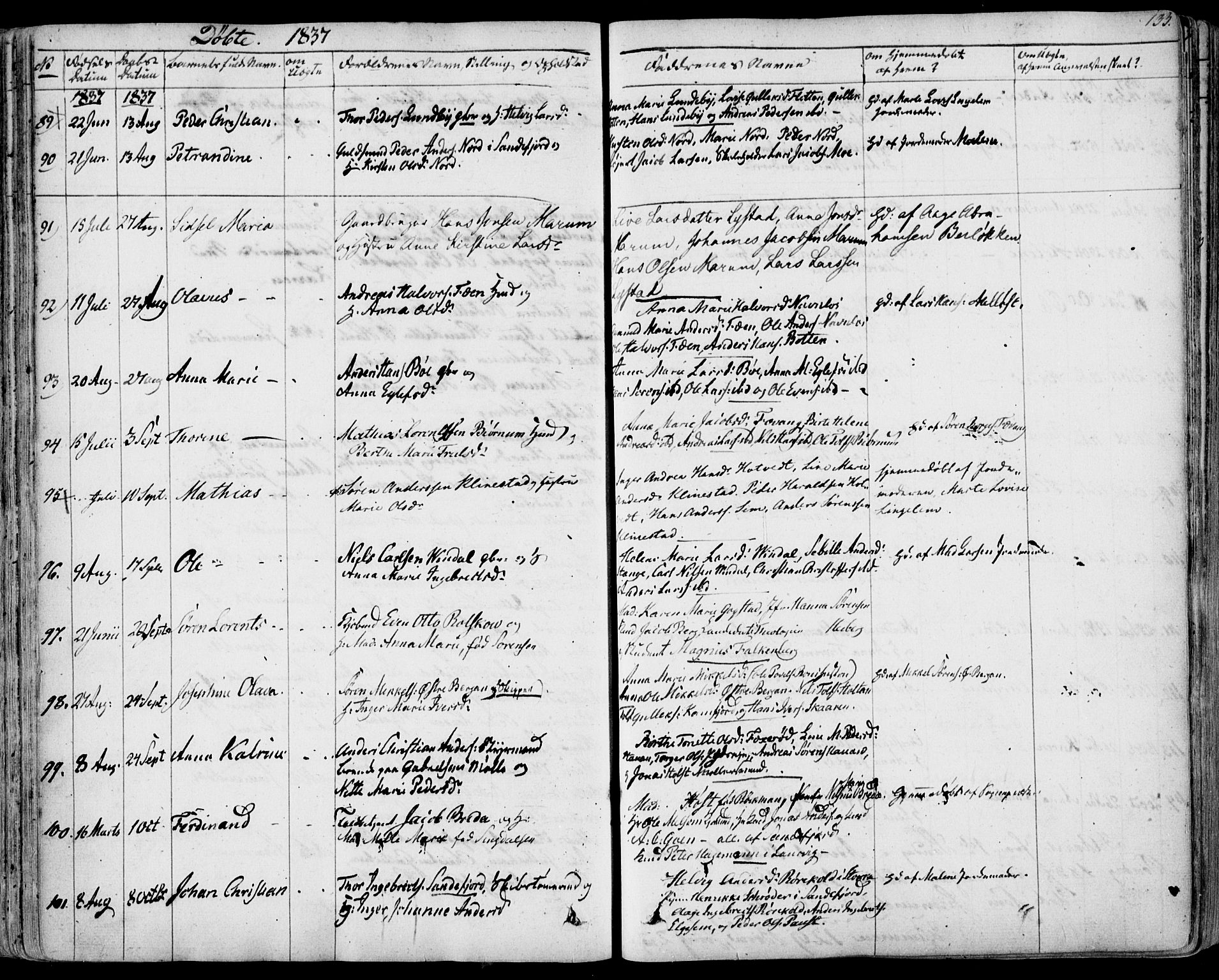 SAKO, Sandar kirkebøker, F/Fa/L0005: Ministerialbok nr. 5, 1832-1847, s. 132-133